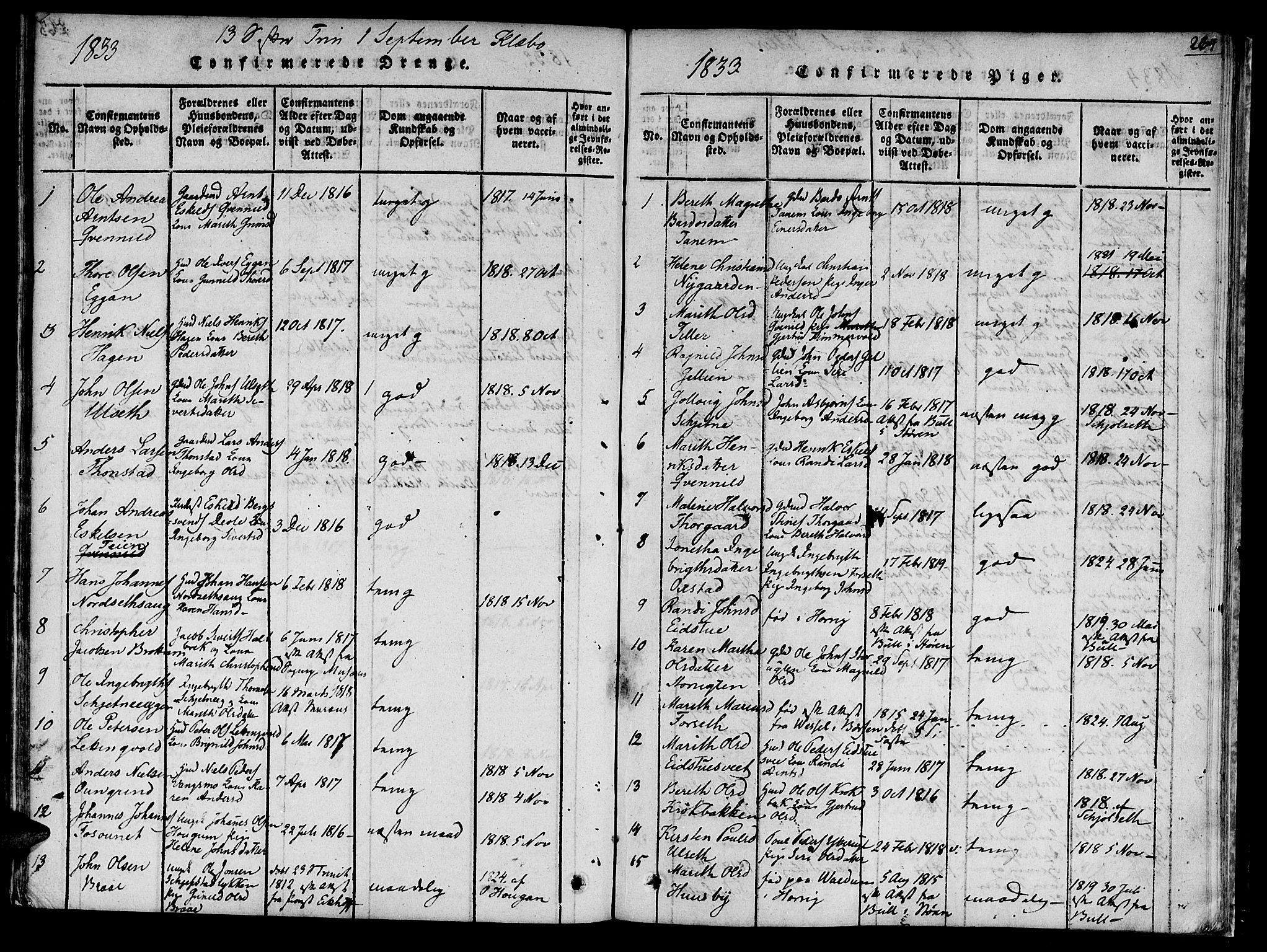 SAT, Ministerialprotokoller, klokkerbøker og fødselsregistre - Sør-Trøndelag, 618/L0439: Ministerialbok nr. 618A04 /1, 1816-1843, s. 264