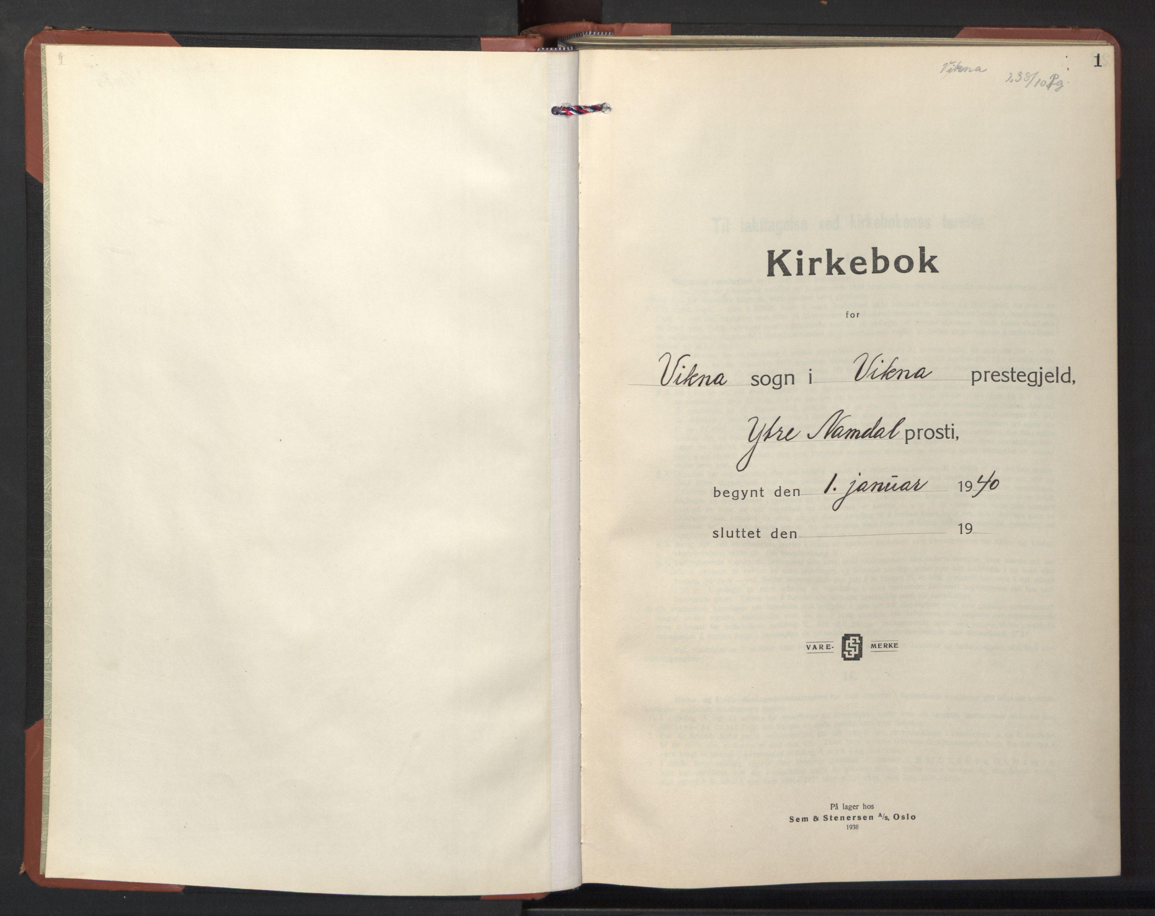 SAT, Ministerialprotokoller, klokkerbøker og fødselsregistre - Nord-Trøndelag, 786/L0689: Klokkerbok nr. 786C01, 1940-1948, s. 1