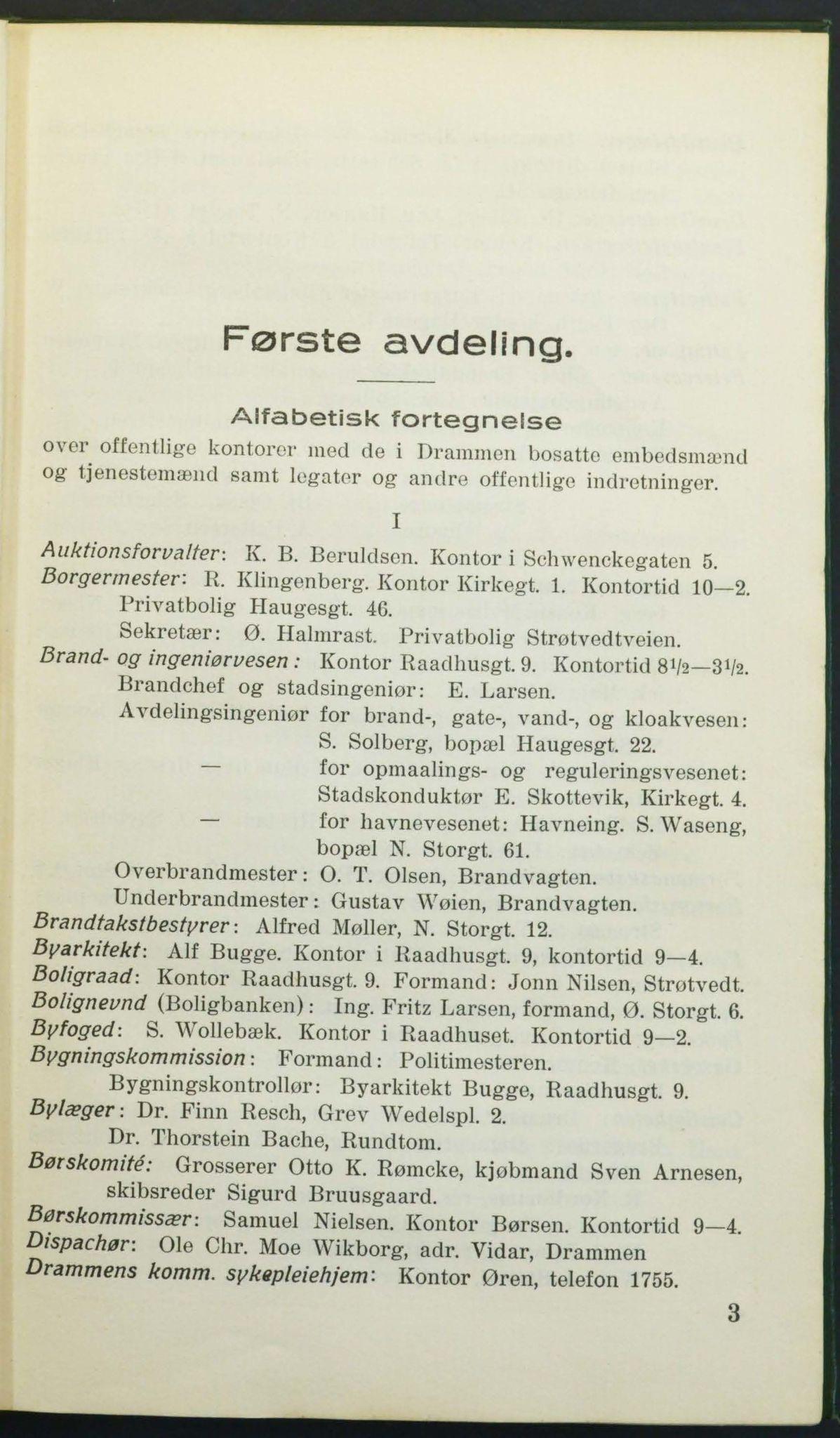 DRMK, Drammen adressebok 1925, 1925, s. 3