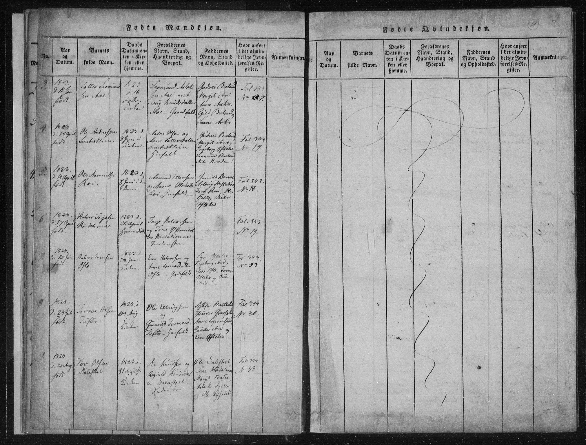 SAKO, Lårdal kirkebøker, F/Fc/L0001: Ministerialbok nr. III 1, 1815-1860, s. 11