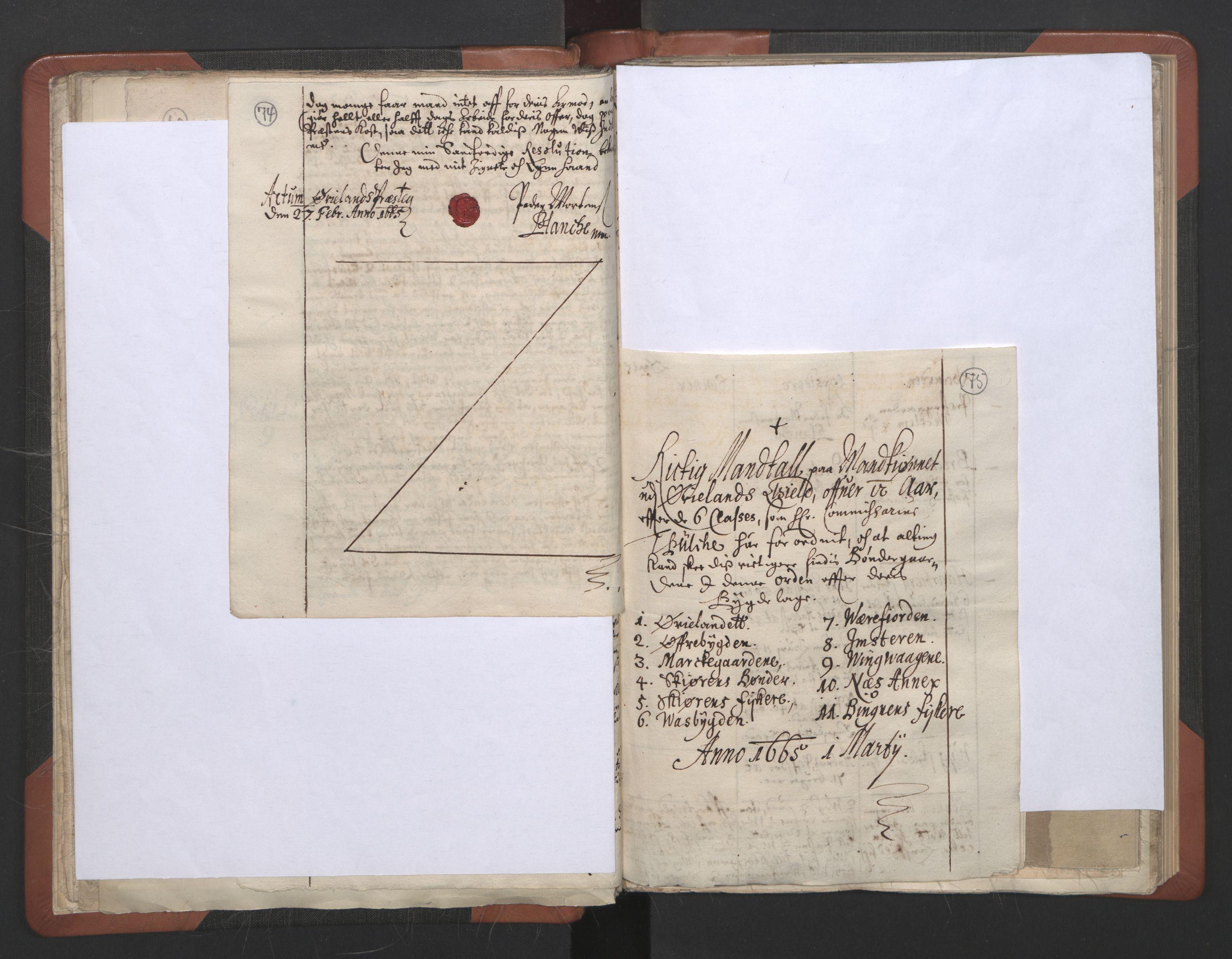 RA, Sogneprestenes manntall 1664-1666, nr. 30: Fosen prosti, 1664-1666, s. 74-75