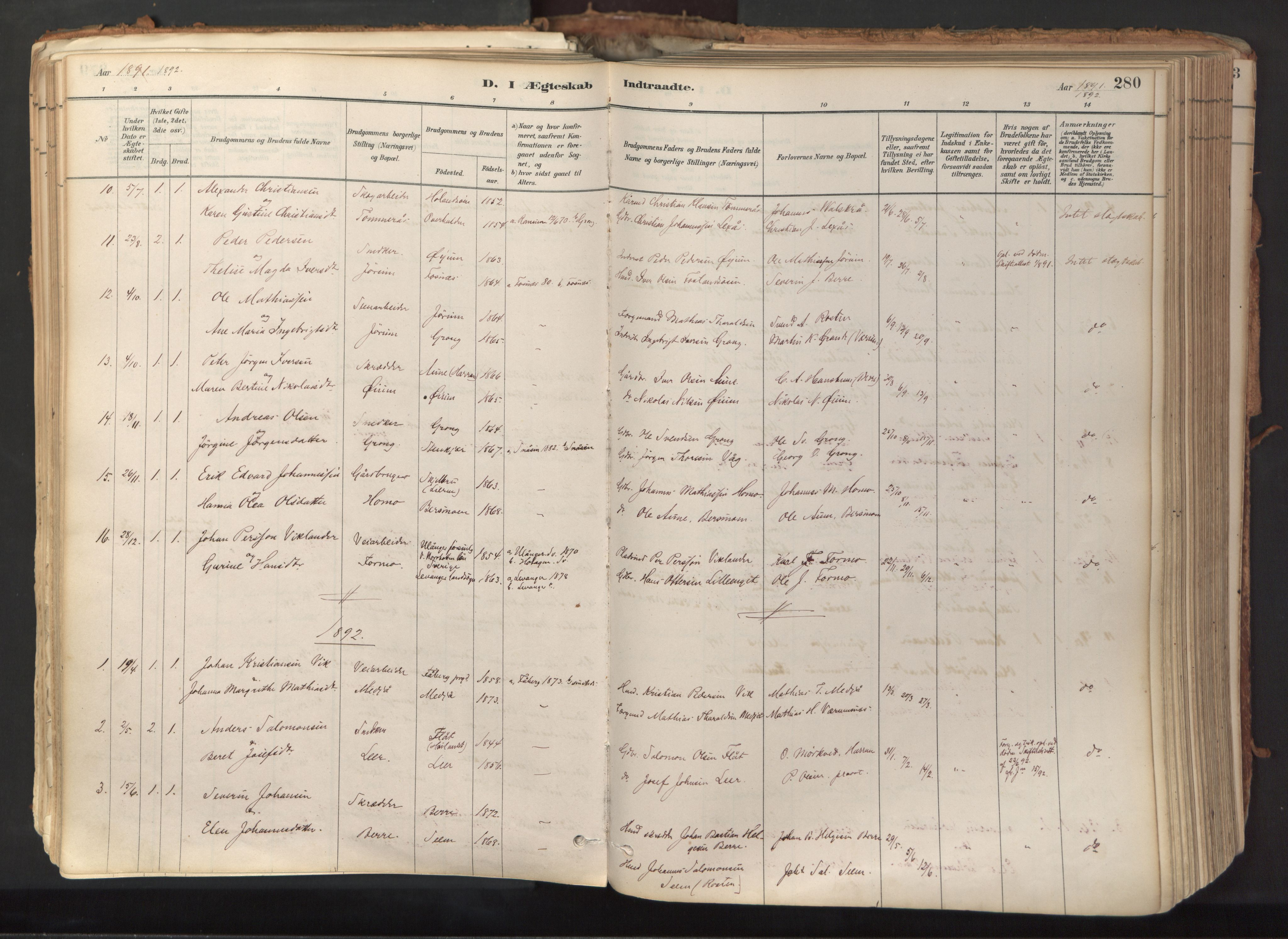 SAT, Ministerialprotokoller, klokkerbøker og fødselsregistre - Nord-Trøndelag, 758/L0519: Ministerialbok nr. 758A04, 1880-1926, s. 280
