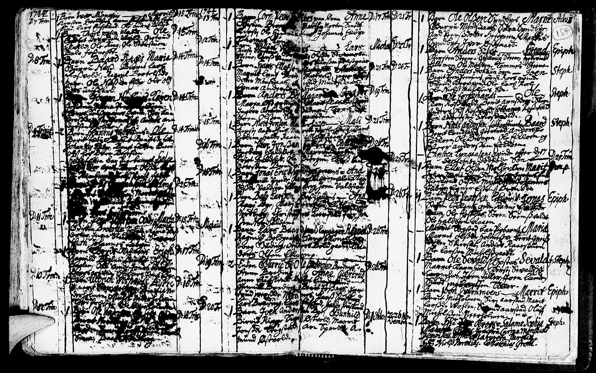 SAT, Ministerialprotokoller, klokkerbøker og fødselsregistre - Nord-Trøndelag, 723/L0230: Ministerialbok nr. 723A01, 1705-1747, s. 154