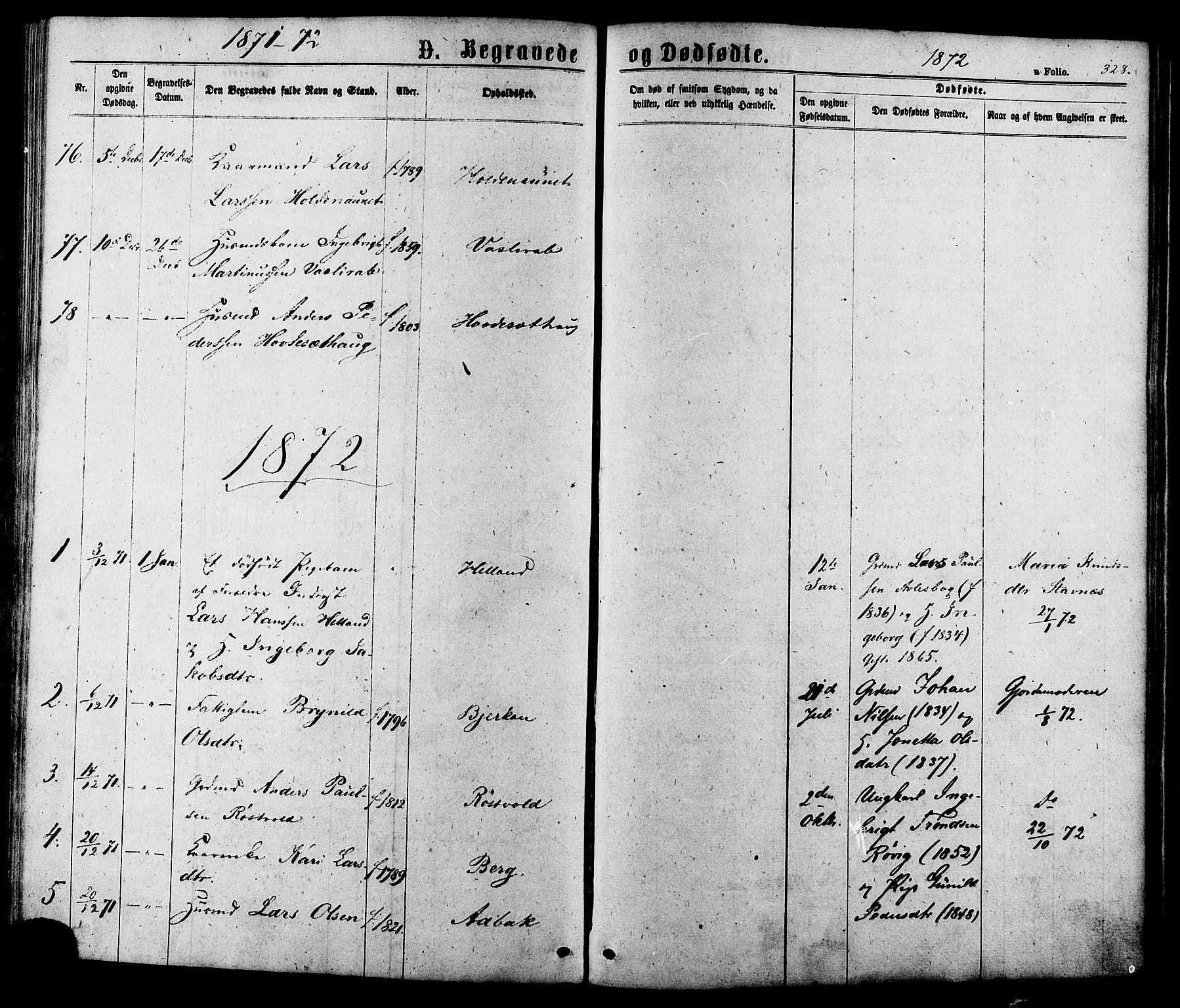 SAT, Ministerialprotokoller, klokkerbøker og fødselsregistre - Sør-Trøndelag, 630/L0495: Ministerialbok nr. 630A08, 1868-1878, s. 328