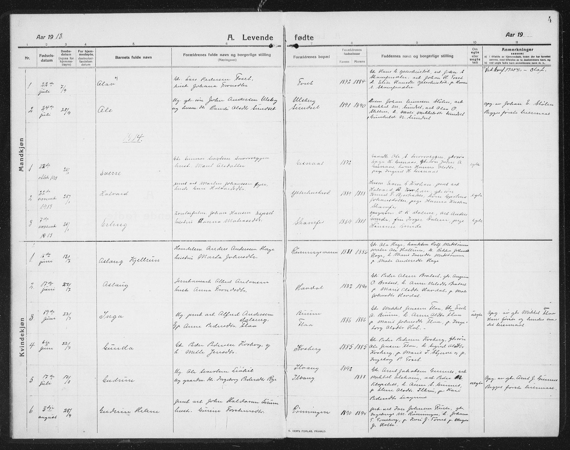 SAT, Ministerialprotokoller, klokkerbøker og fødselsregistre - Sør-Trøndelag, 675/L0888: Klokkerbok nr. 675C01, 1913-1935, s. 4