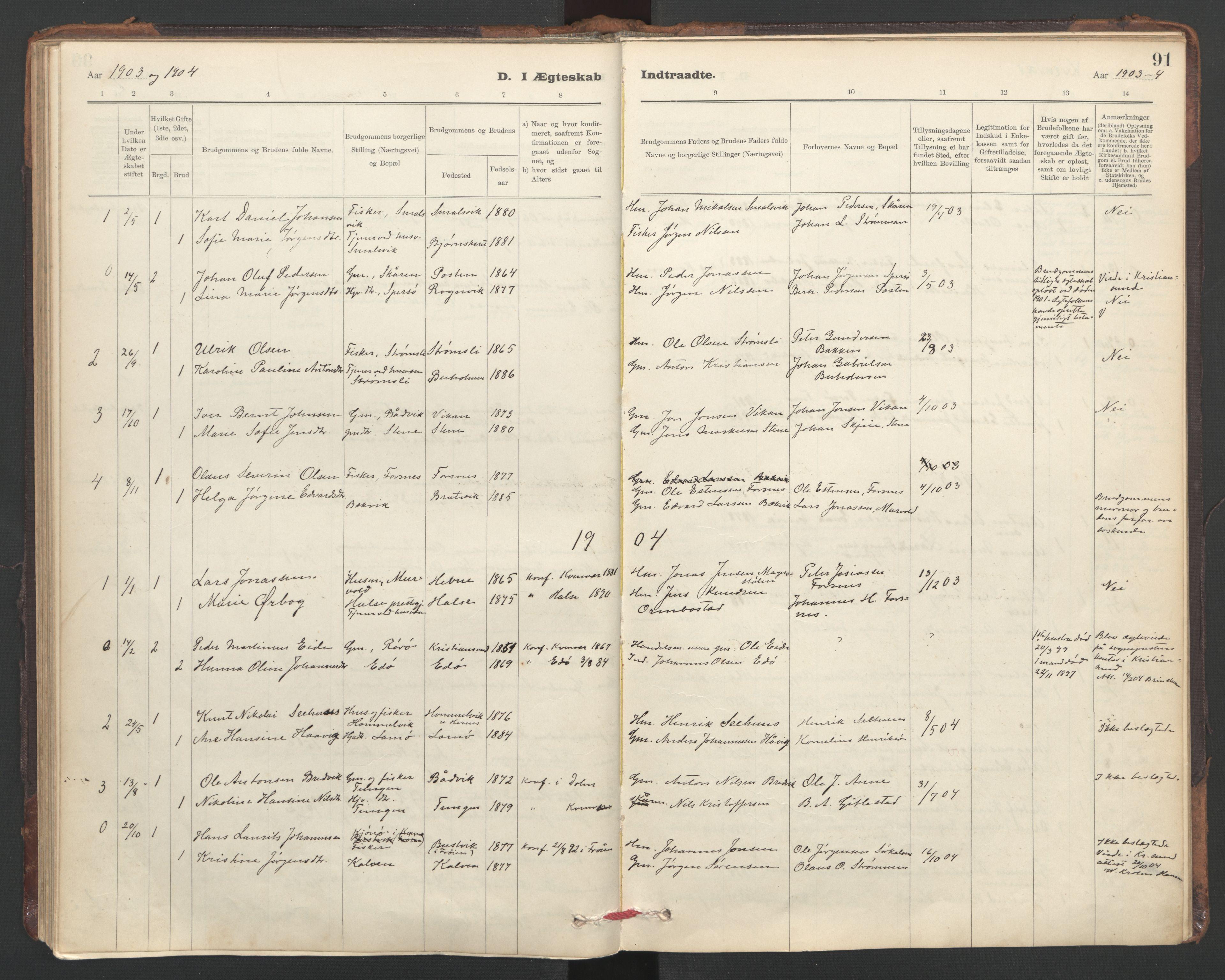 SAT, Ministerialprotokoller, klokkerbøker og fødselsregistre - Sør-Trøndelag, 635/L0552: Ministerialbok nr. 635A02, 1899-1919, s. 91
