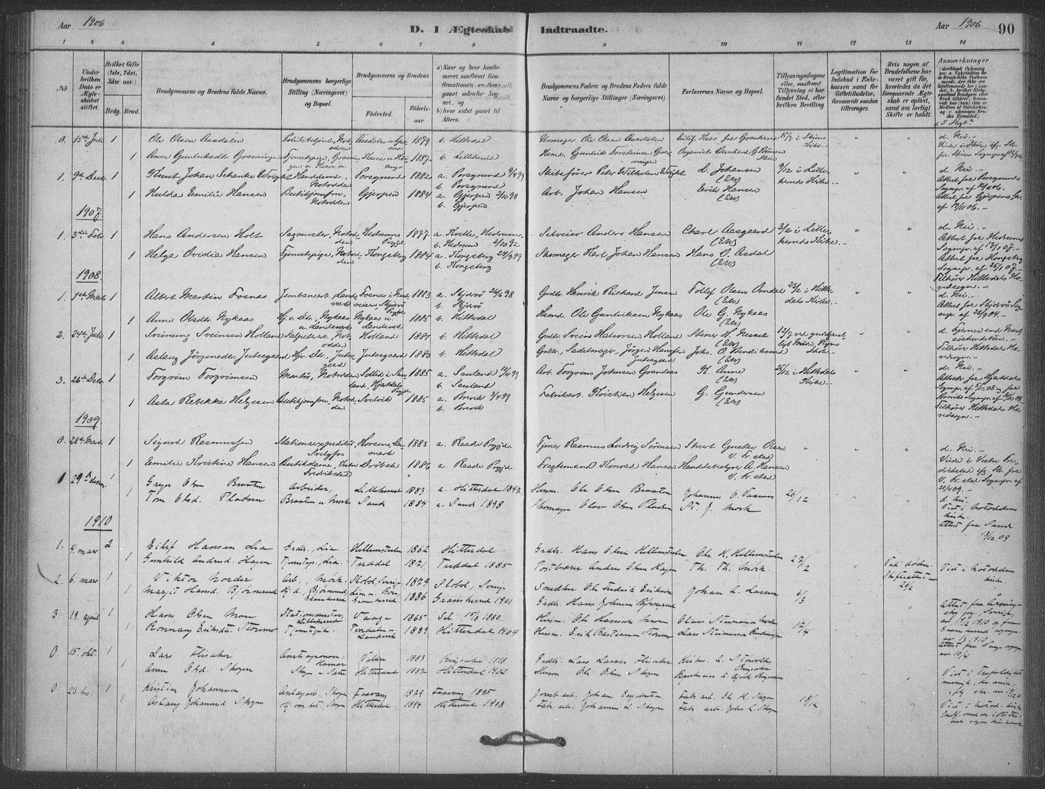 SAKO, Heddal kirkebøker, F/Fb/L0002: Ministerialbok nr. II 2, 1878-1913, s. 90