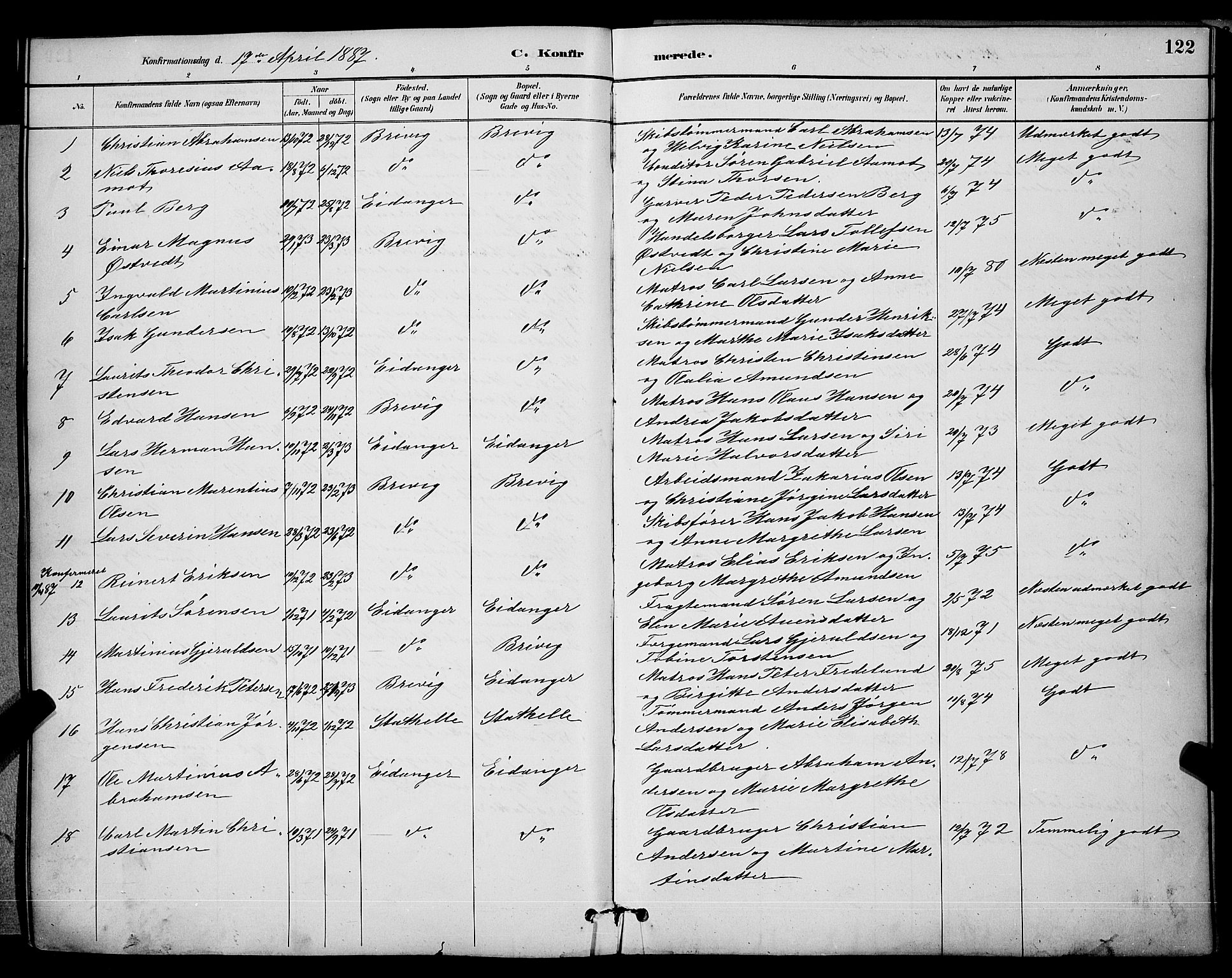 SAKO, Brevik kirkebøker, G/Ga/L0004: Klokkerbok nr. 4, 1882-1900, s. 122