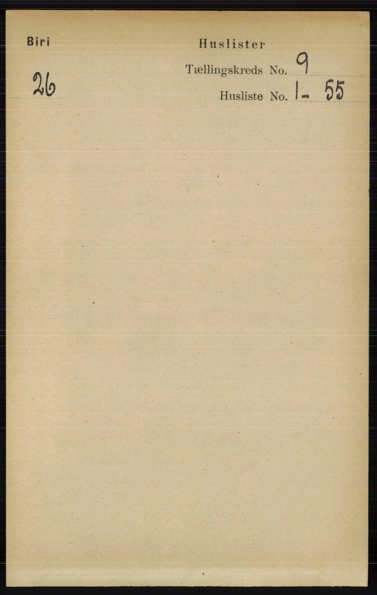 RA, Folketelling 1891 for 0525 Biri herred, 1891, s. 3325