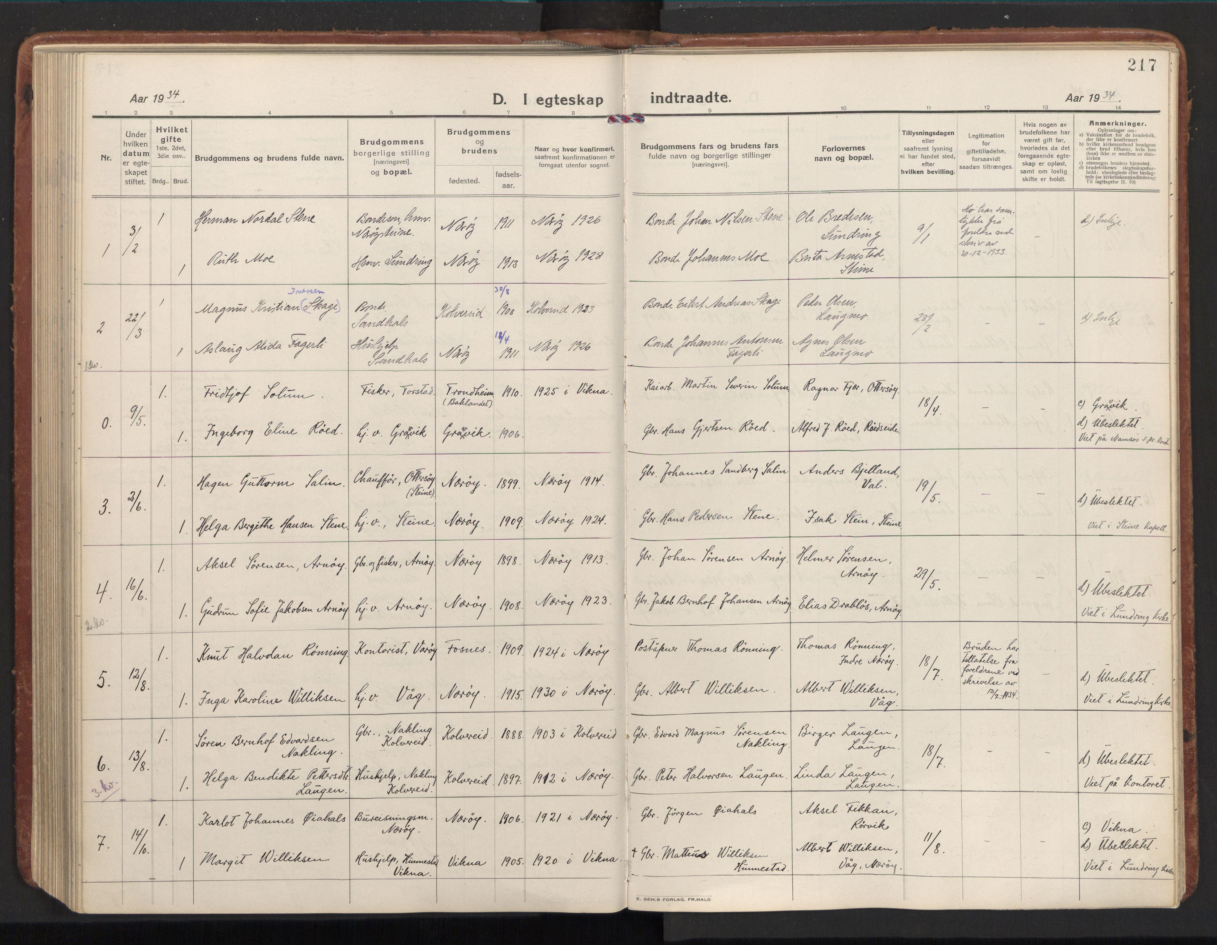 SAT, Ministerialprotokoller, klokkerbøker og fødselsregistre - Nord-Trøndelag, 784/L0678: Ministerialbok nr. 784A13, 1921-1938, s. 217