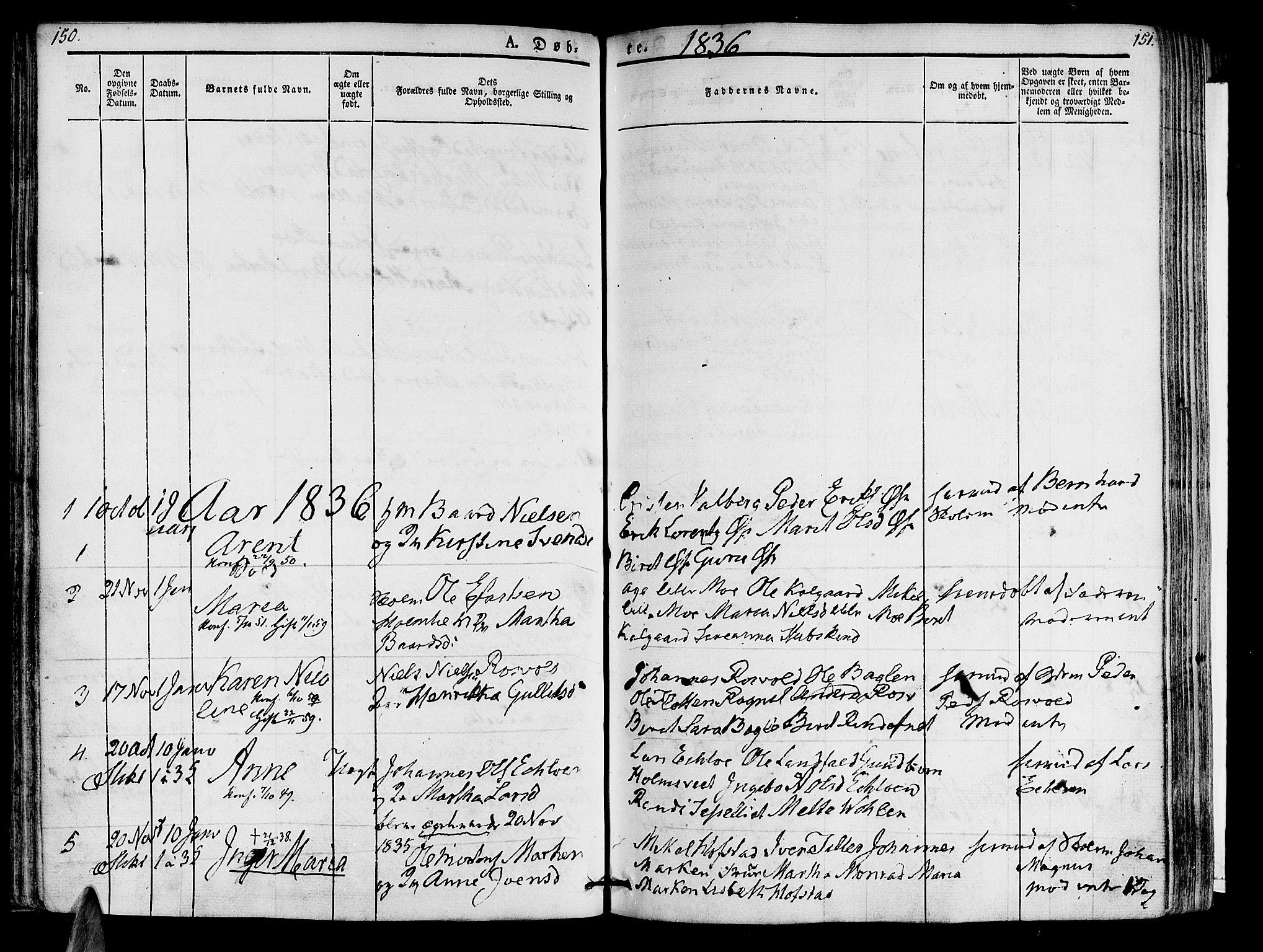 SAT, Ministerialprotokoller, klokkerbøker og fødselsregistre - Nord-Trøndelag, 723/L0238: Ministerialbok nr. 723A07, 1831-1840, s. 150-151