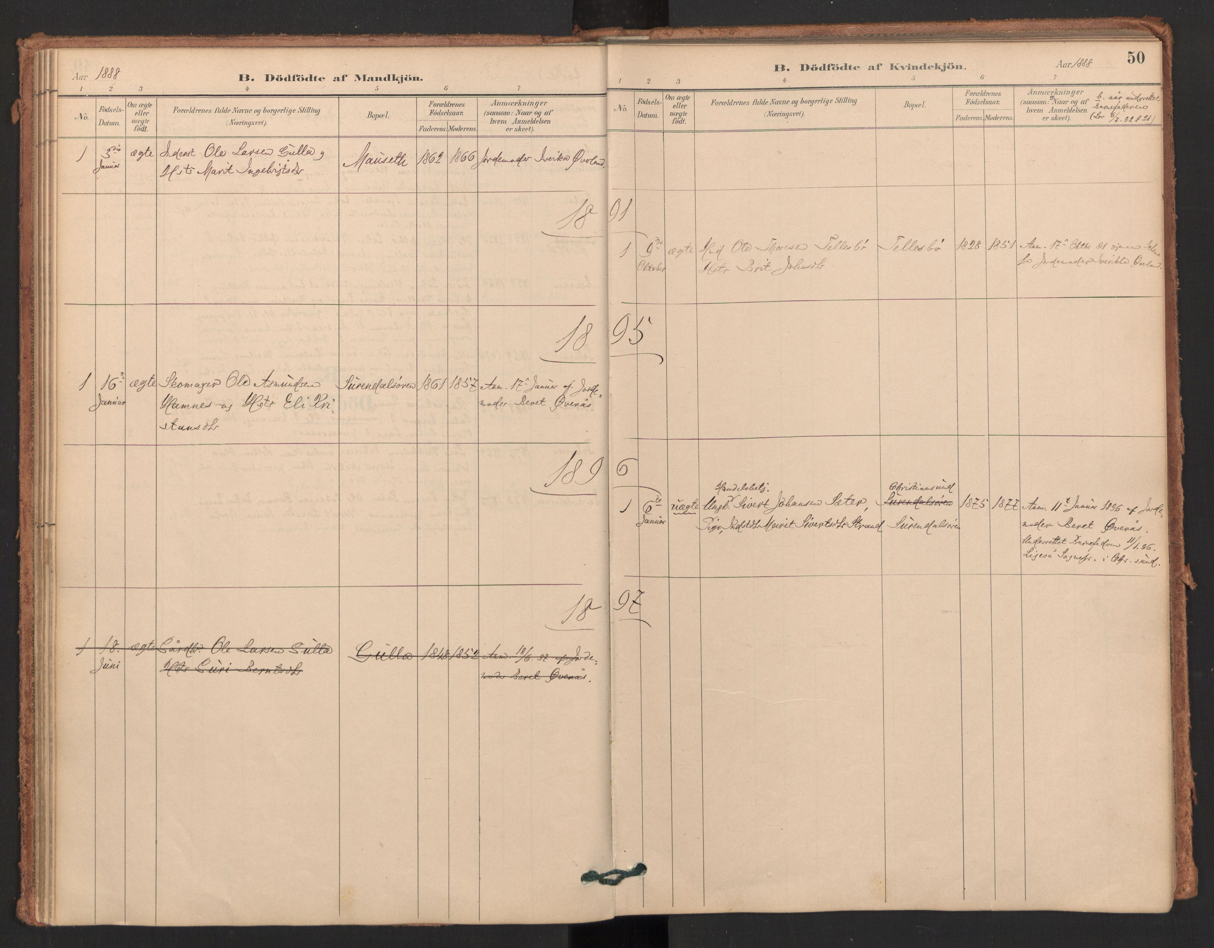 SAT, Ministerialprotokoller, klokkerbøker og fødselsregistre - Møre og Romsdal, 596/L1056: Ministerialbok nr. 596A01, 1885-1900, s. 50