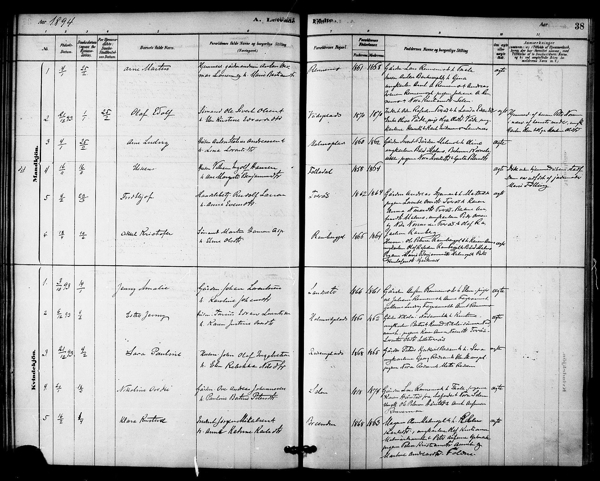 SAT, Ministerialprotokoller, klokkerbøker og fødselsregistre - Nord-Trøndelag, 745/L0429: Ministerialbok nr. 745A01, 1878-1894, s. 38