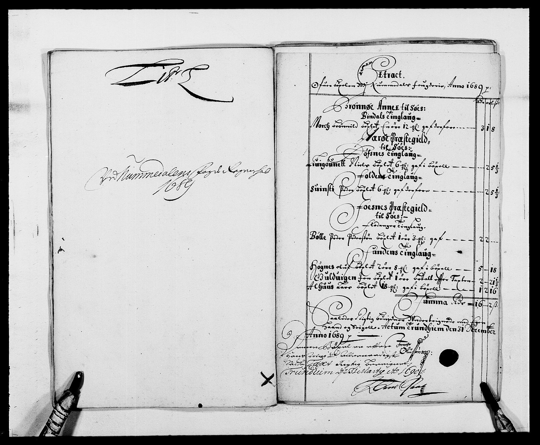 RA, Rentekammeret inntil 1814, Reviderte regnskaper, Fogderegnskap, R64/L4422: Fogderegnskap Namdal, 1687-1689, s. 266