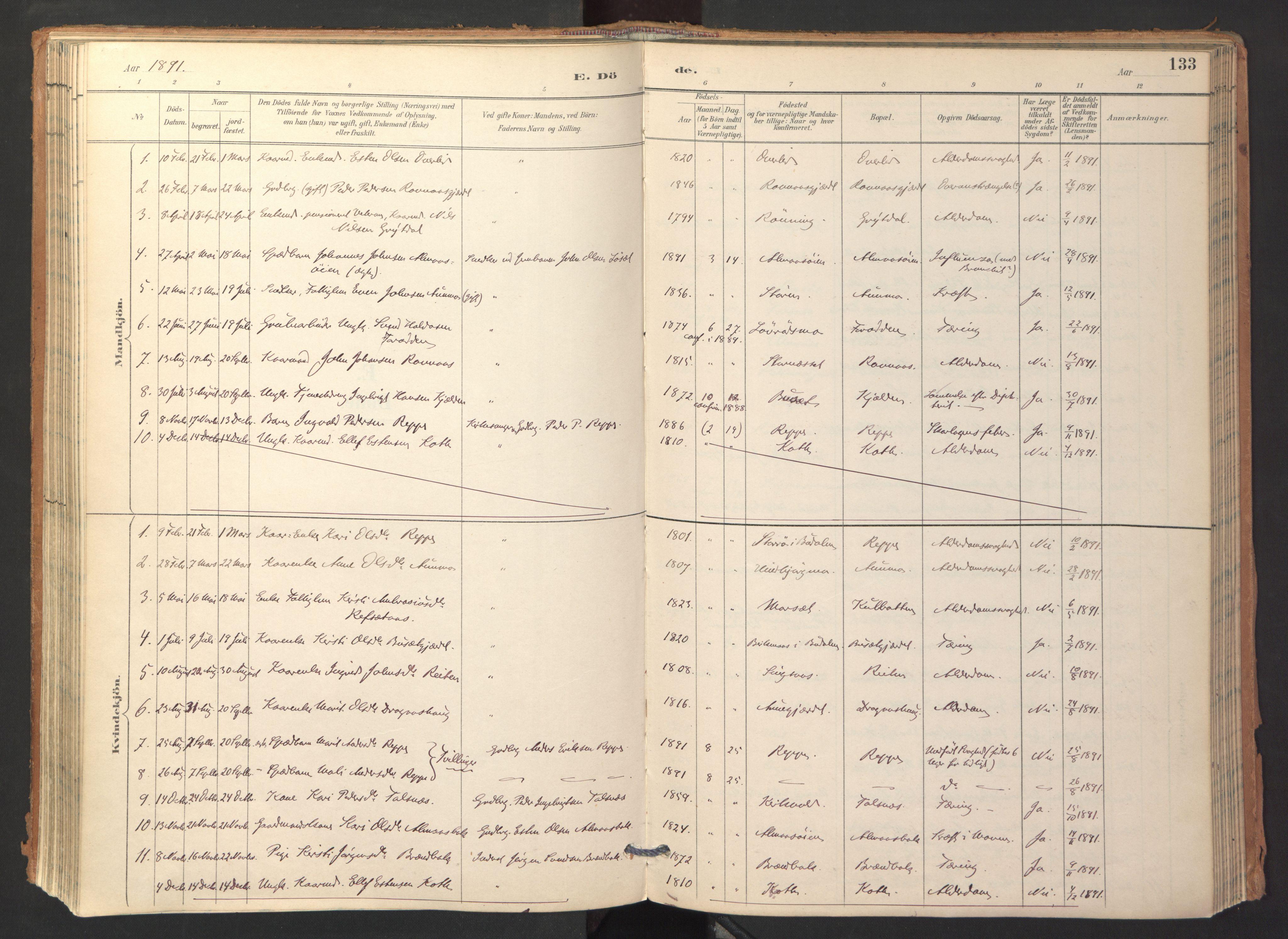 SAT, Ministerialprotokoller, klokkerbøker og fødselsregistre - Sør-Trøndelag, 688/L1025: Ministerialbok nr. 688A02, 1891-1909, s. 133
