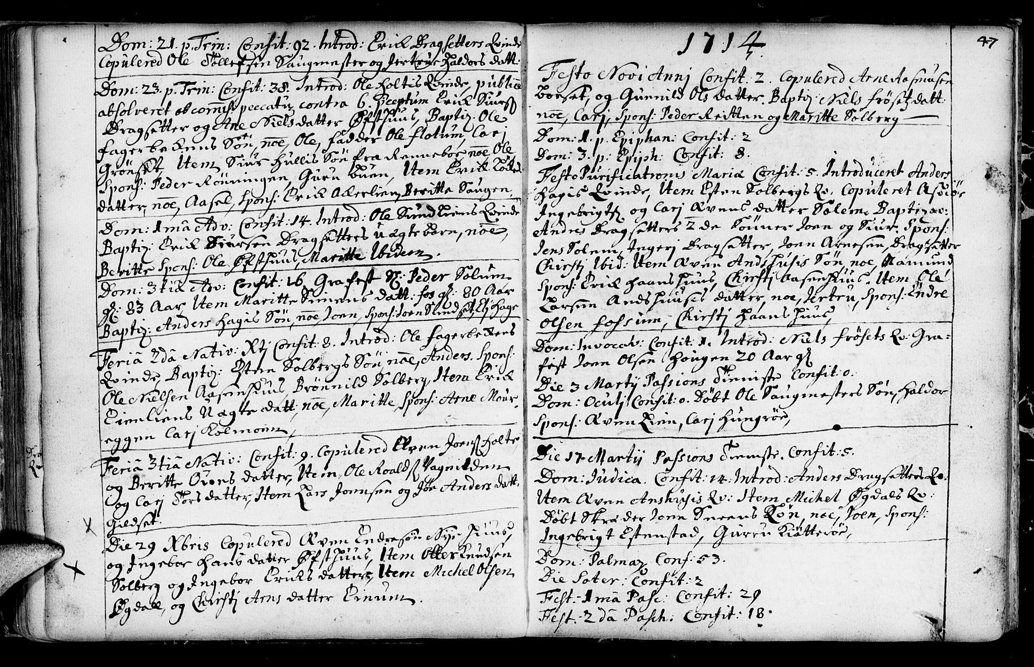 SAT, Ministerialprotokoller, klokkerbøker og fødselsregistre - Sør-Trøndelag, 689/L1036: Ministerialbok nr. 689A01, 1696-1746, s. 47