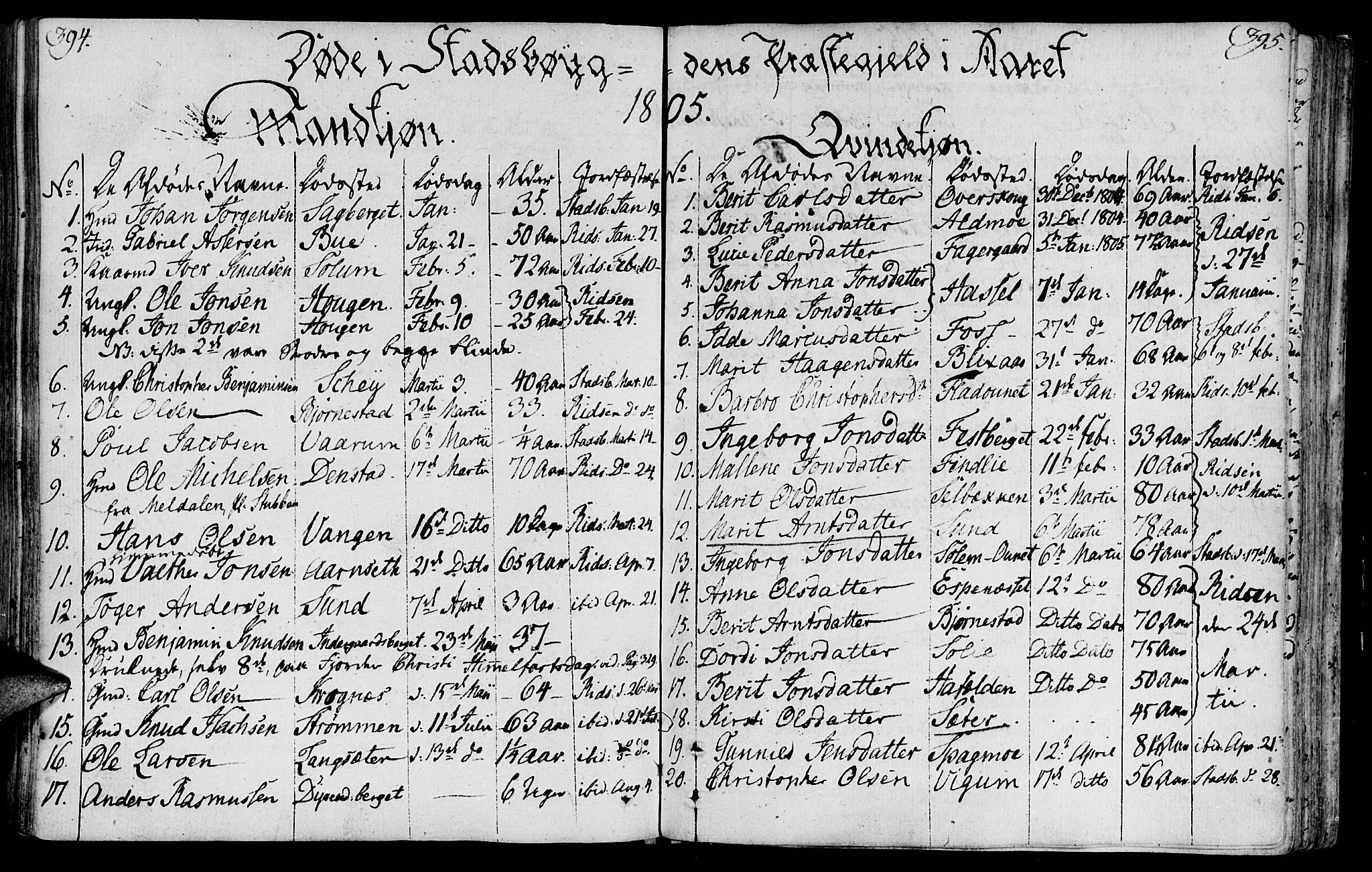 SAT, Ministerialprotokoller, klokkerbøker og fødselsregistre - Sør-Trøndelag, 646/L0606: Ministerialbok nr. 646A04, 1791-1805, s. 394-395