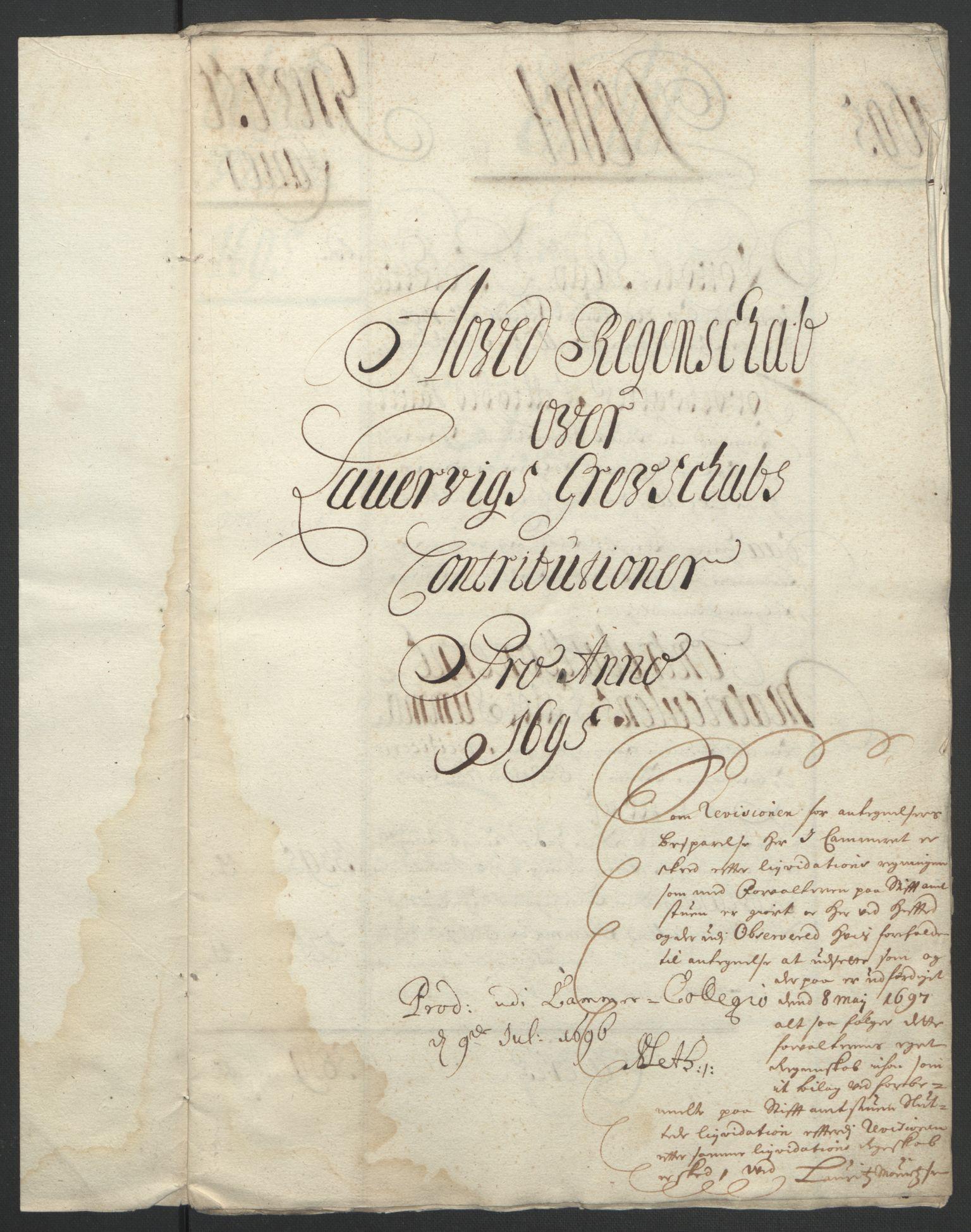 RA, Rentekammeret inntil 1814, Reviderte regnskaper, Fogderegnskap, R33/L1974: Fogderegnskap Larvik grevskap, 1693-1695, s. 188