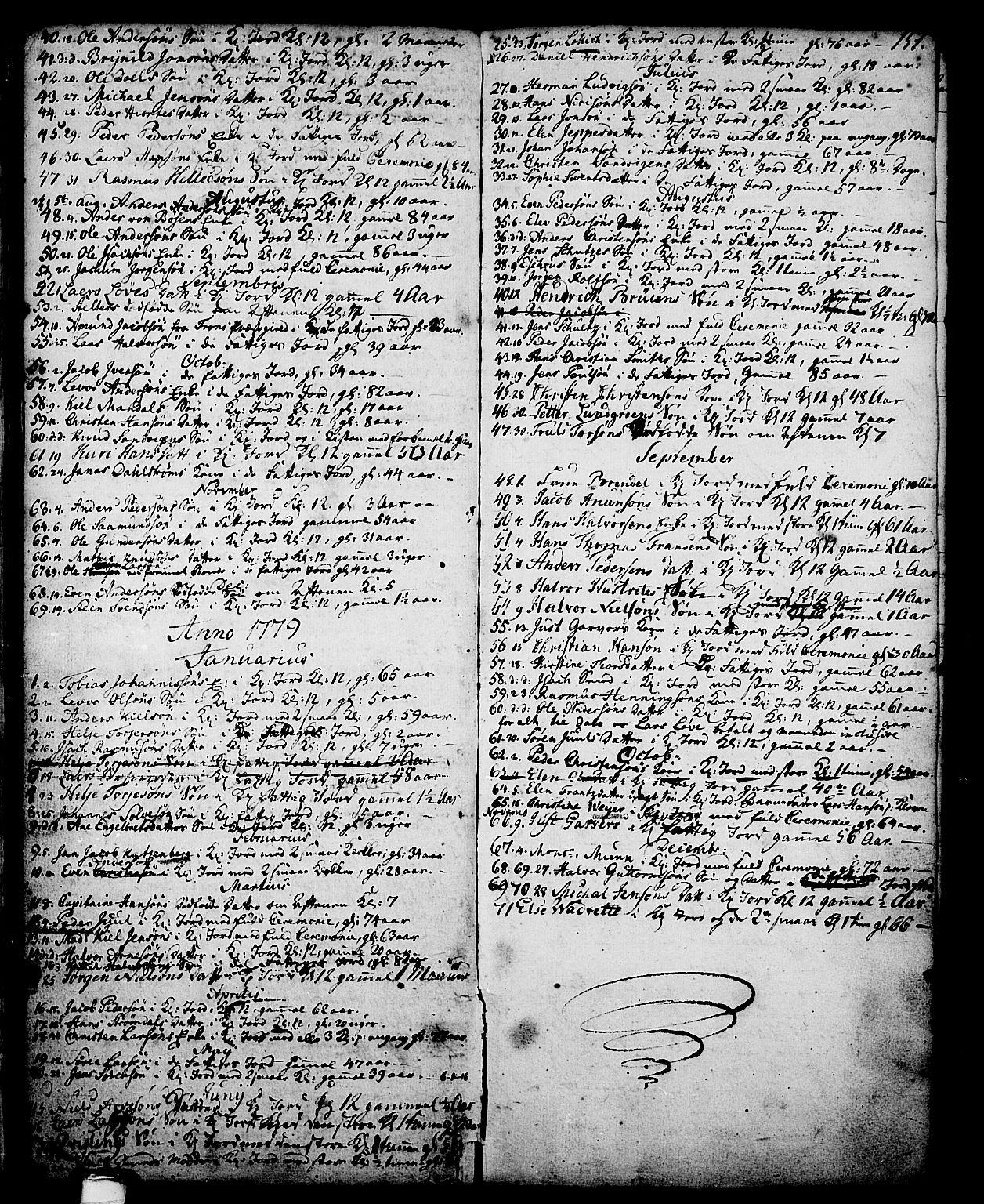 SAKO, Skien kirkebøker, G/Ga/L0001: Klokkerbok nr. 1, 1756-1791, s. 151