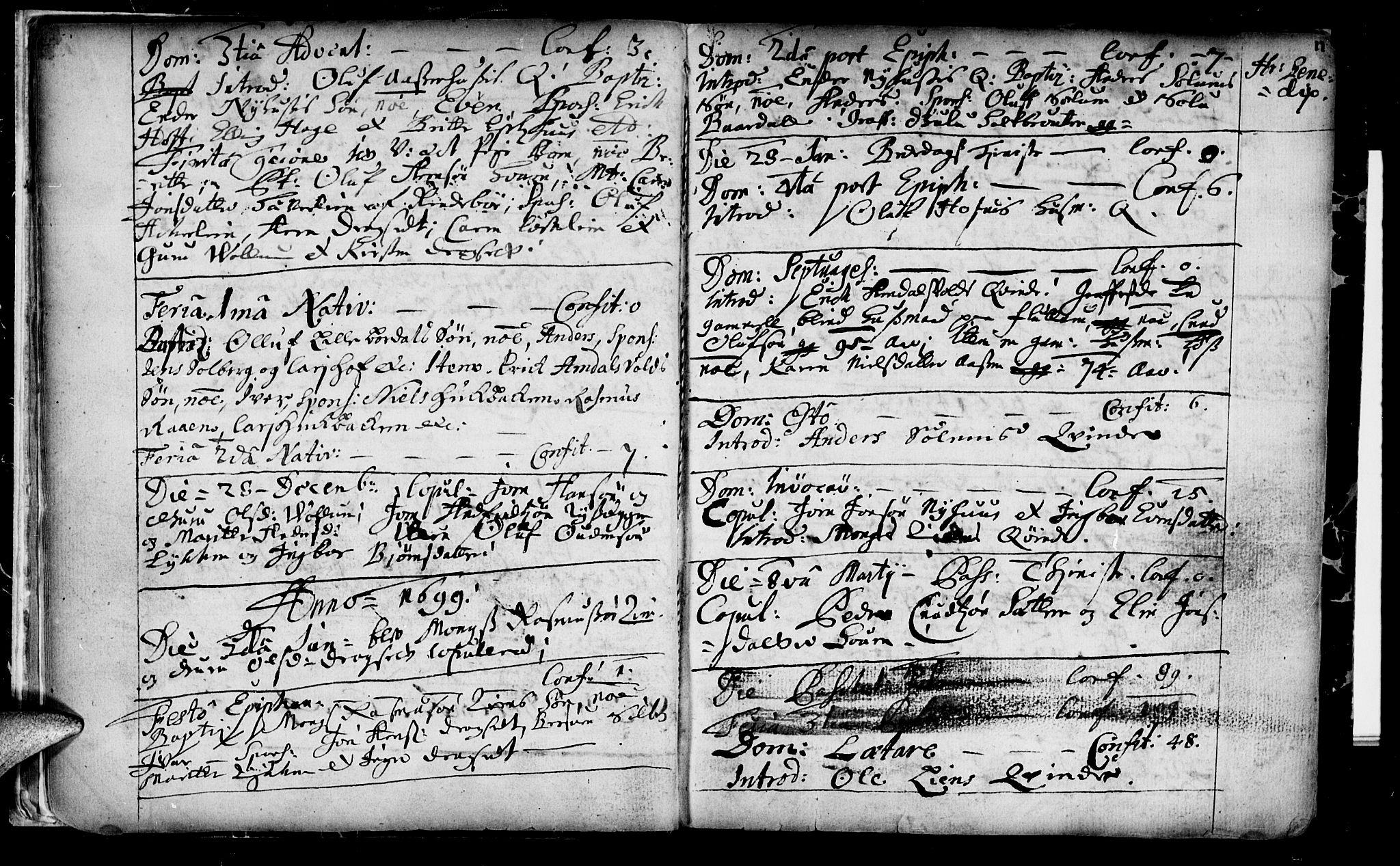 SAT, Ministerialprotokoller, klokkerbøker og fødselsregistre - Sør-Trøndelag, 689/L1036: Ministerialbok nr. 689A01, 1696-1746, s. 11