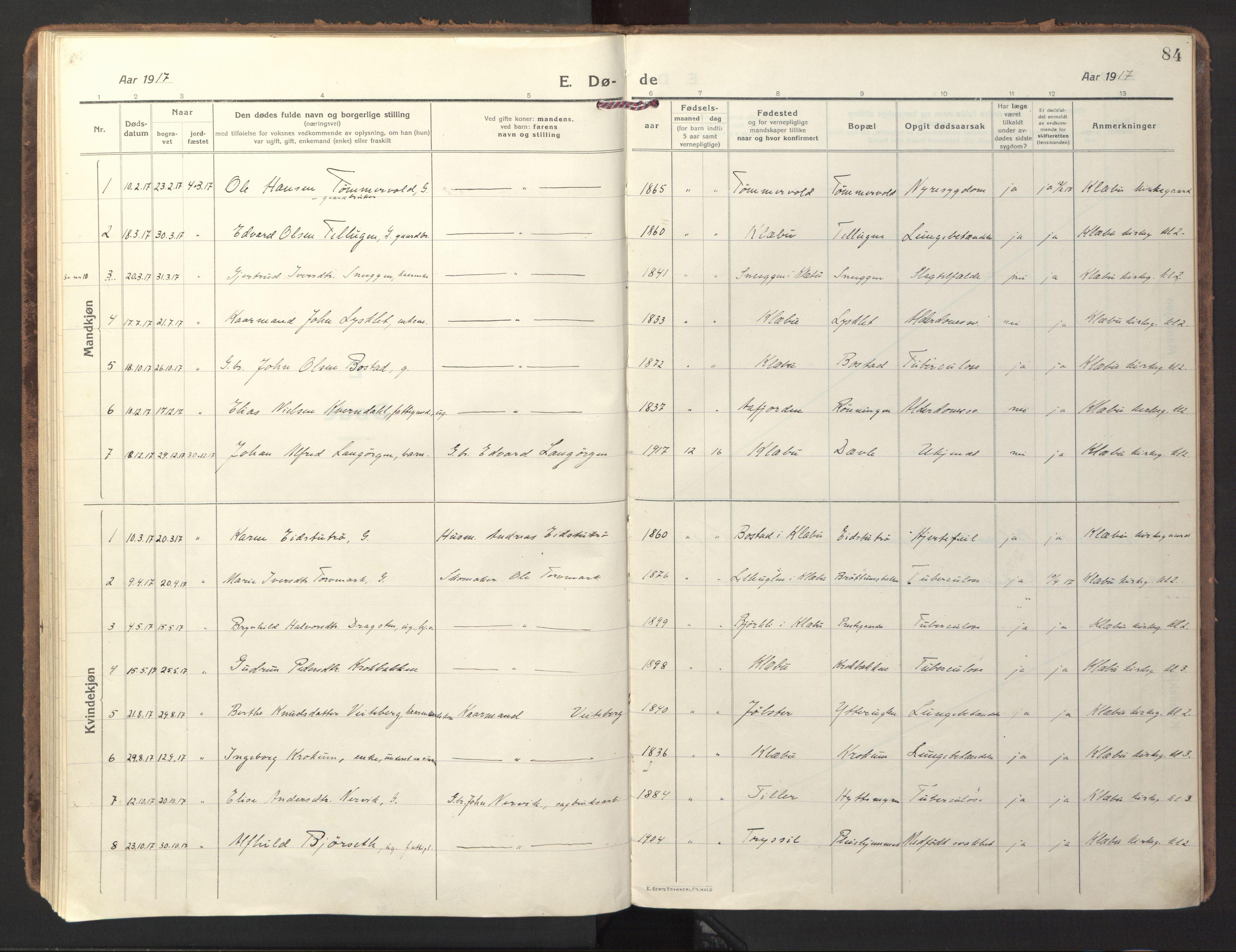 SAT, Ministerialprotokoller, klokkerbøker og fødselsregistre - Sør-Trøndelag, 618/L0449: Ministerialbok nr. 618A12, 1917-1924, s. 84