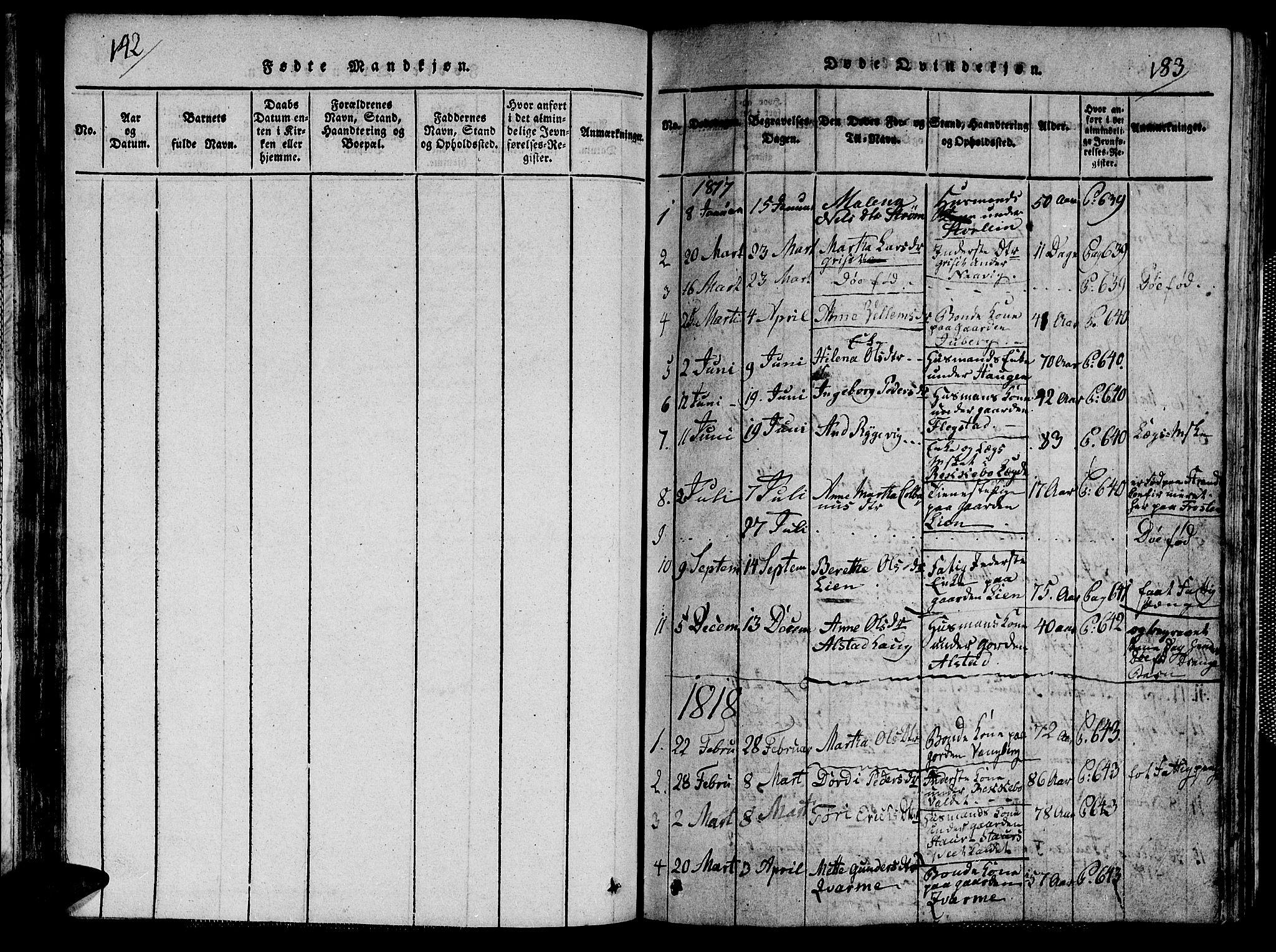 SAT, Ministerialprotokoller, klokkerbøker og fødselsregistre - Nord-Trøndelag, 713/L0124: Klokkerbok nr. 713C01, 1817-1827, s. 142-183
