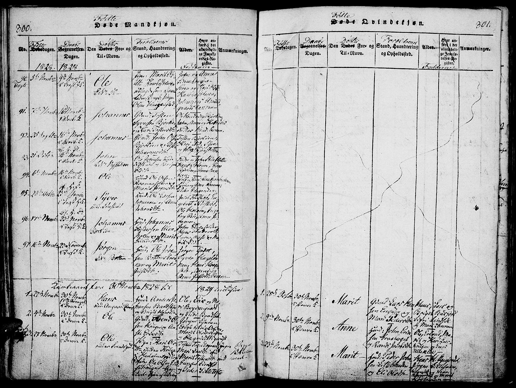 SAH, Lesja prestekontor, Ministerialbok nr. 4, 1820-1829, s. 300-301