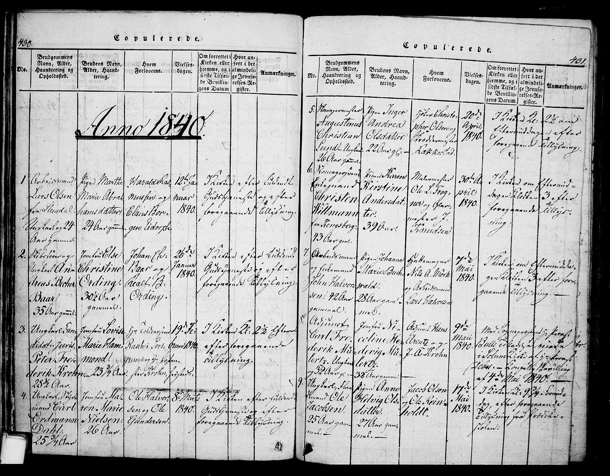 SAKO, Skien kirkebøker, G/Ga/L0002: Klokkerbok nr. 2, 1814-1842, s. 430-431