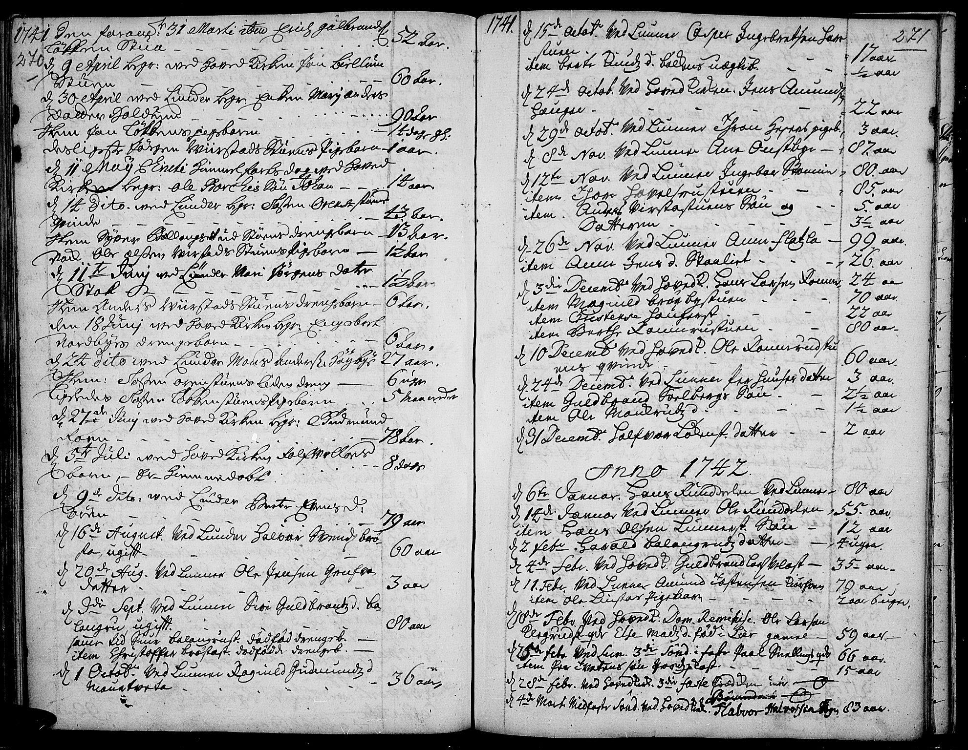 SAH, Jevnaker prestekontor, Ministerialbok nr. 2, 1725-1751, s. 270-271