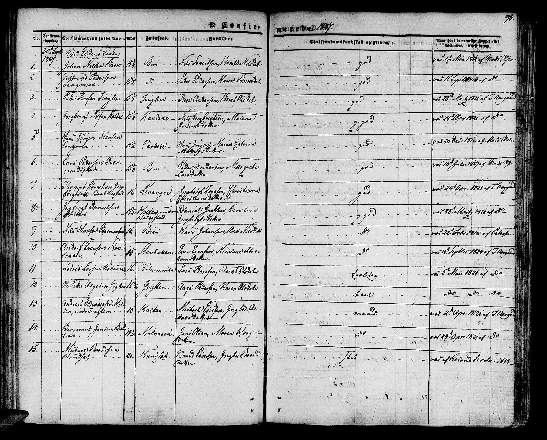 SAT, Ministerialprotokoller, klokkerbøker og fødselsregistre - Nord-Trøndelag, 741/L0390: Ministerialbok nr. 741A04, 1822-1836, s. 98