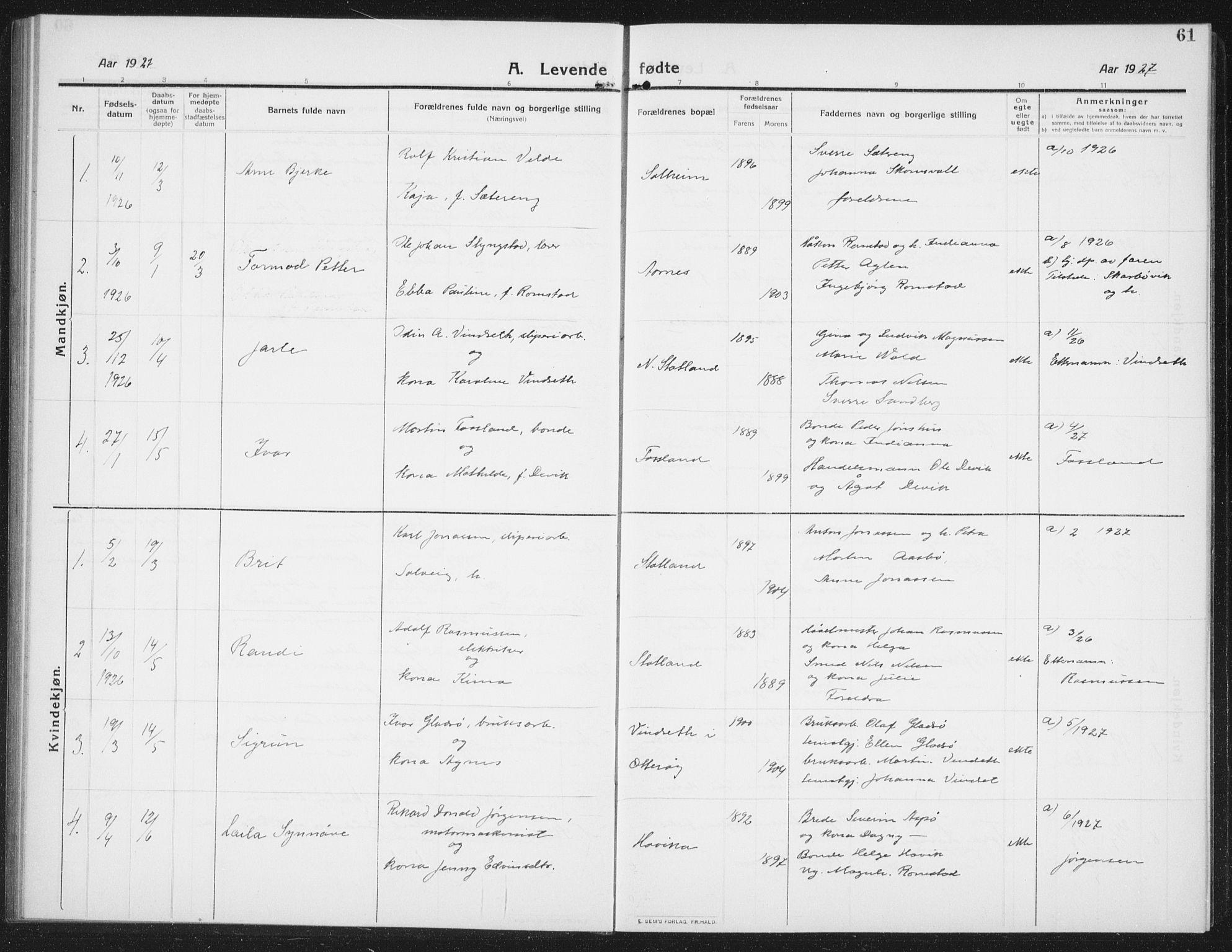 SAT, Ministerialprotokoller, klokkerbøker og fødselsregistre - Nord-Trøndelag, 774/L0630: Klokkerbok nr. 774C01, 1910-1934, s. 61