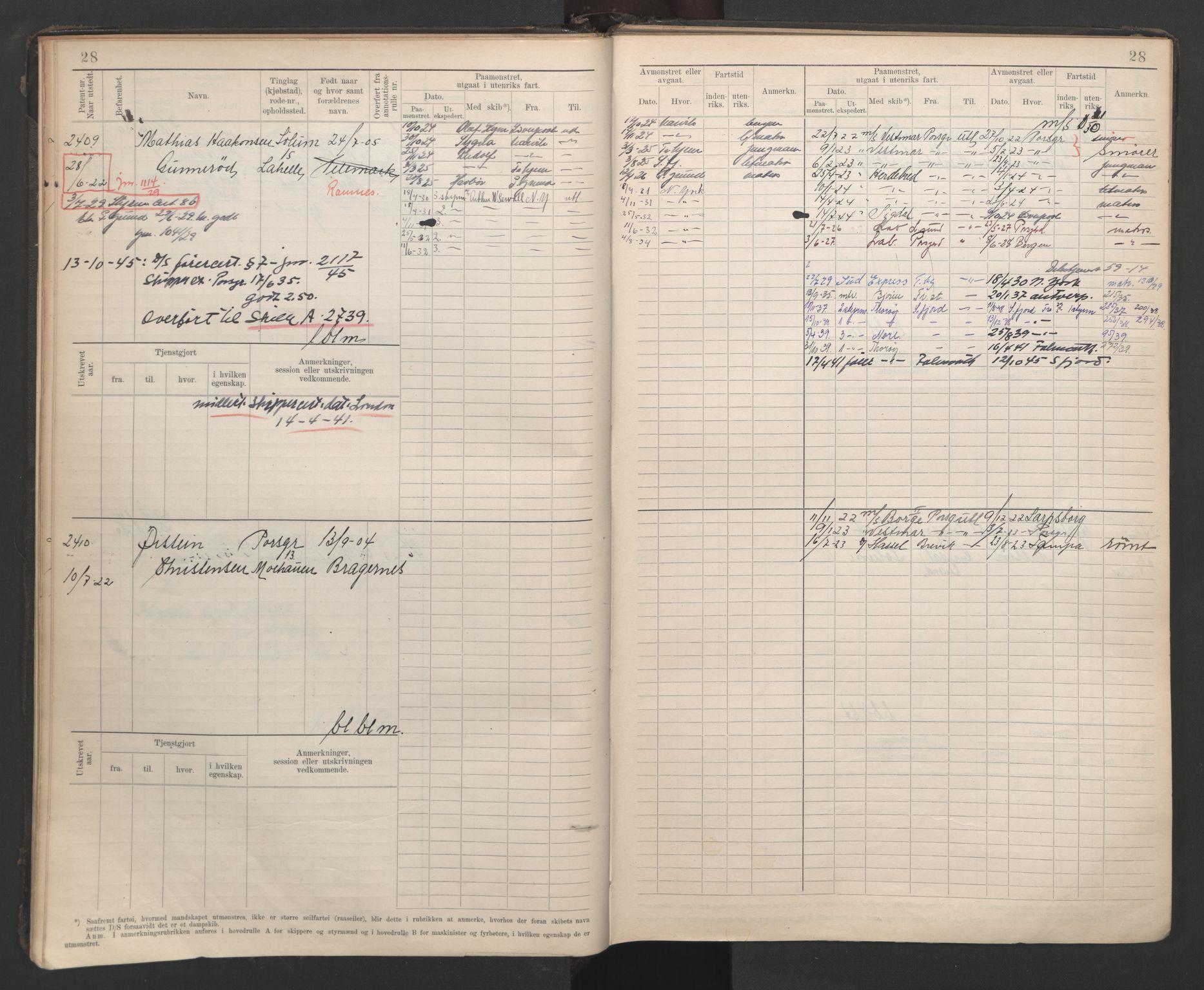 SAKO, Porsgrunn innrulleringskontor, F/Fb/L0007: Annotasjonsrulle, 1926-1948, s. 28