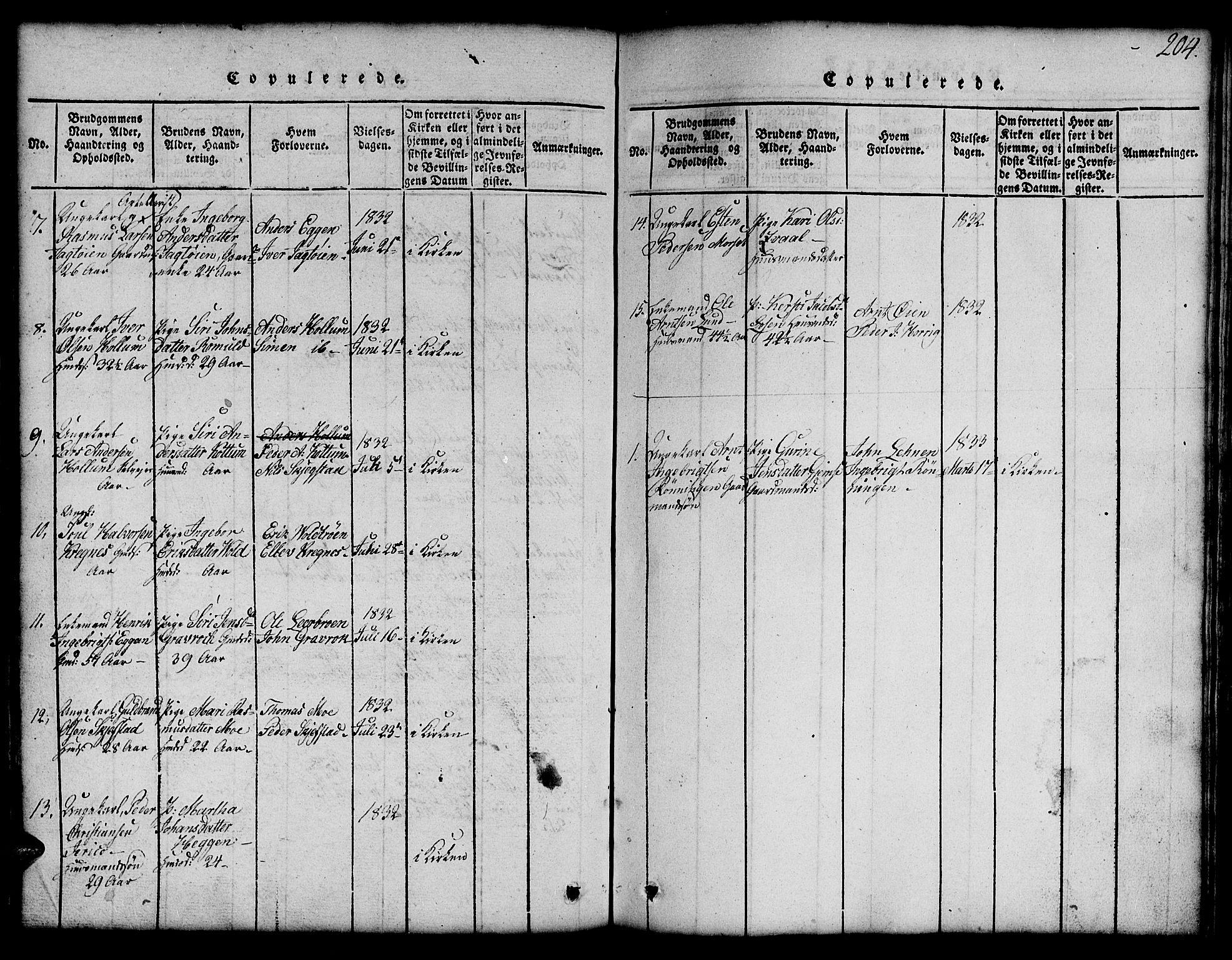 SAT, Ministerialprotokoller, klokkerbøker og fødselsregistre - Sør-Trøndelag, 691/L1092: Klokkerbok nr. 691C03, 1816-1852, s. 204