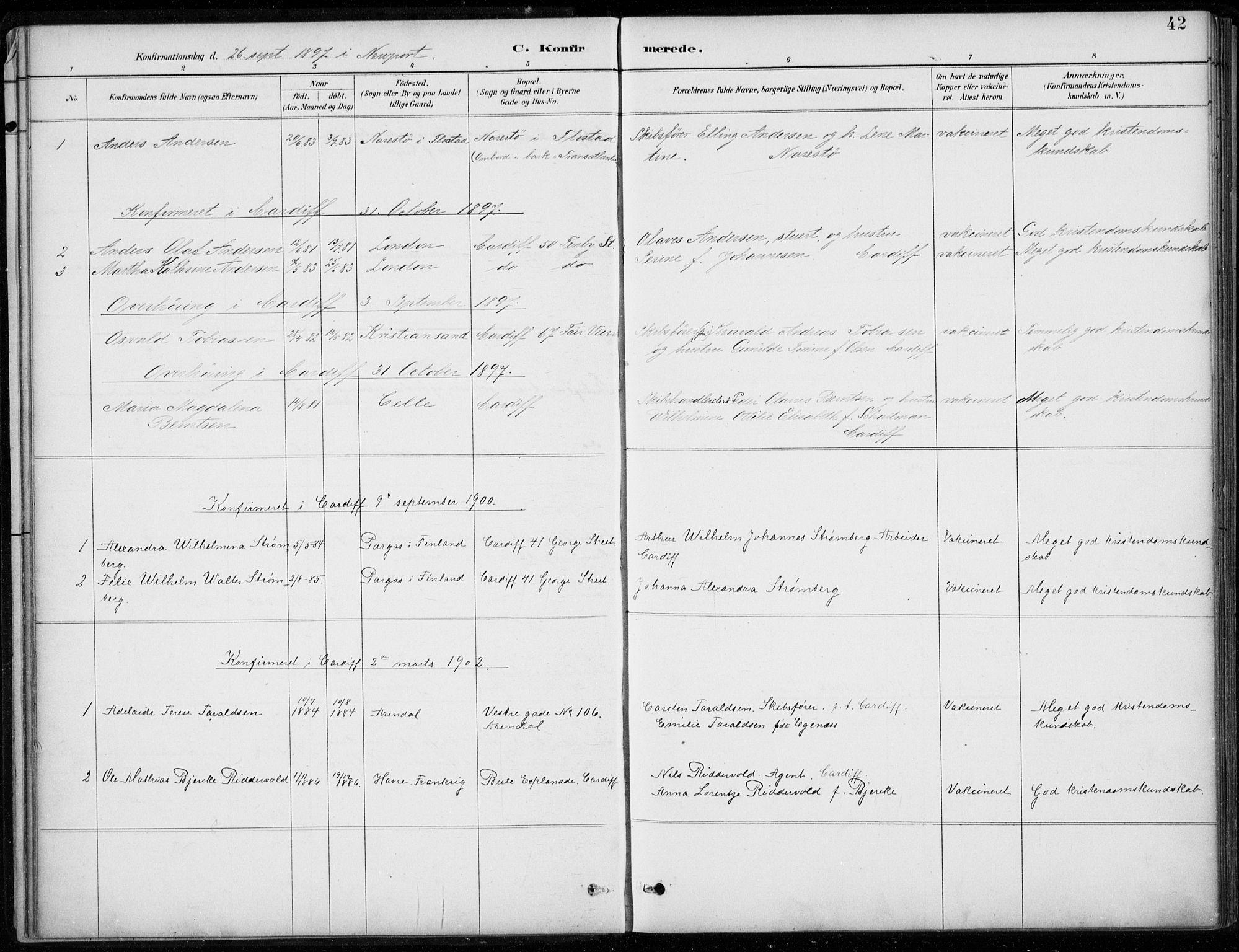 SAB, Den Norske Sjømannsmisjon i utlandet*, Ministerialbok nr. A 2, 1887-1932, s. 42