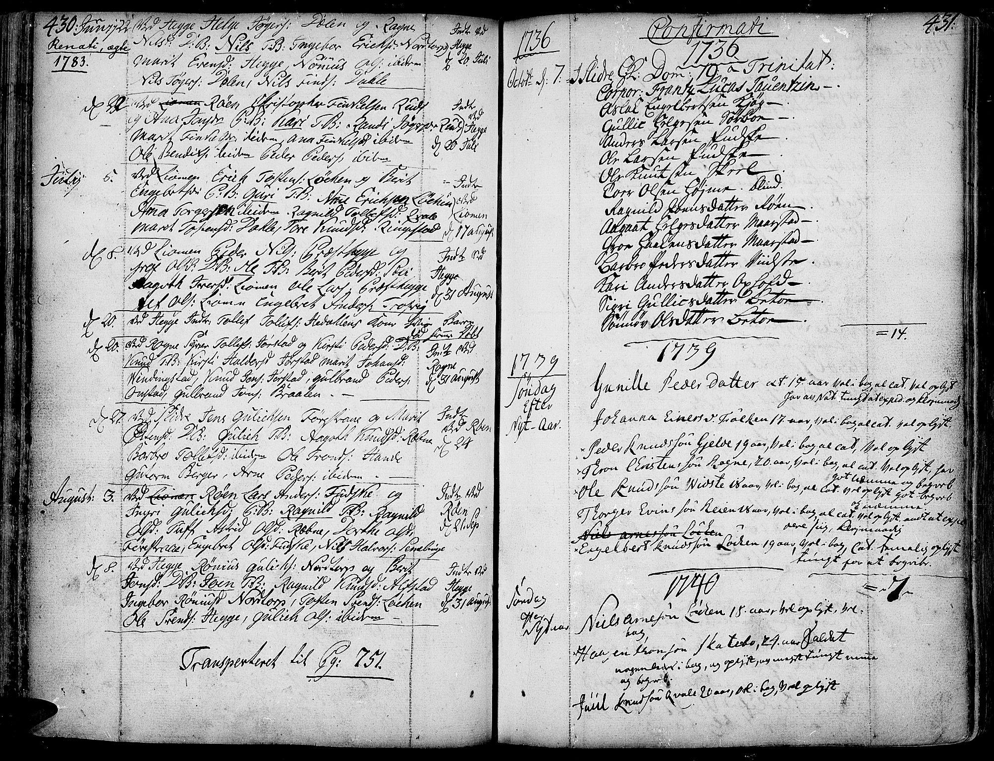 SAH, Slidre prestekontor, Ministerialbok nr. 1, 1724-1814, s. 430-431