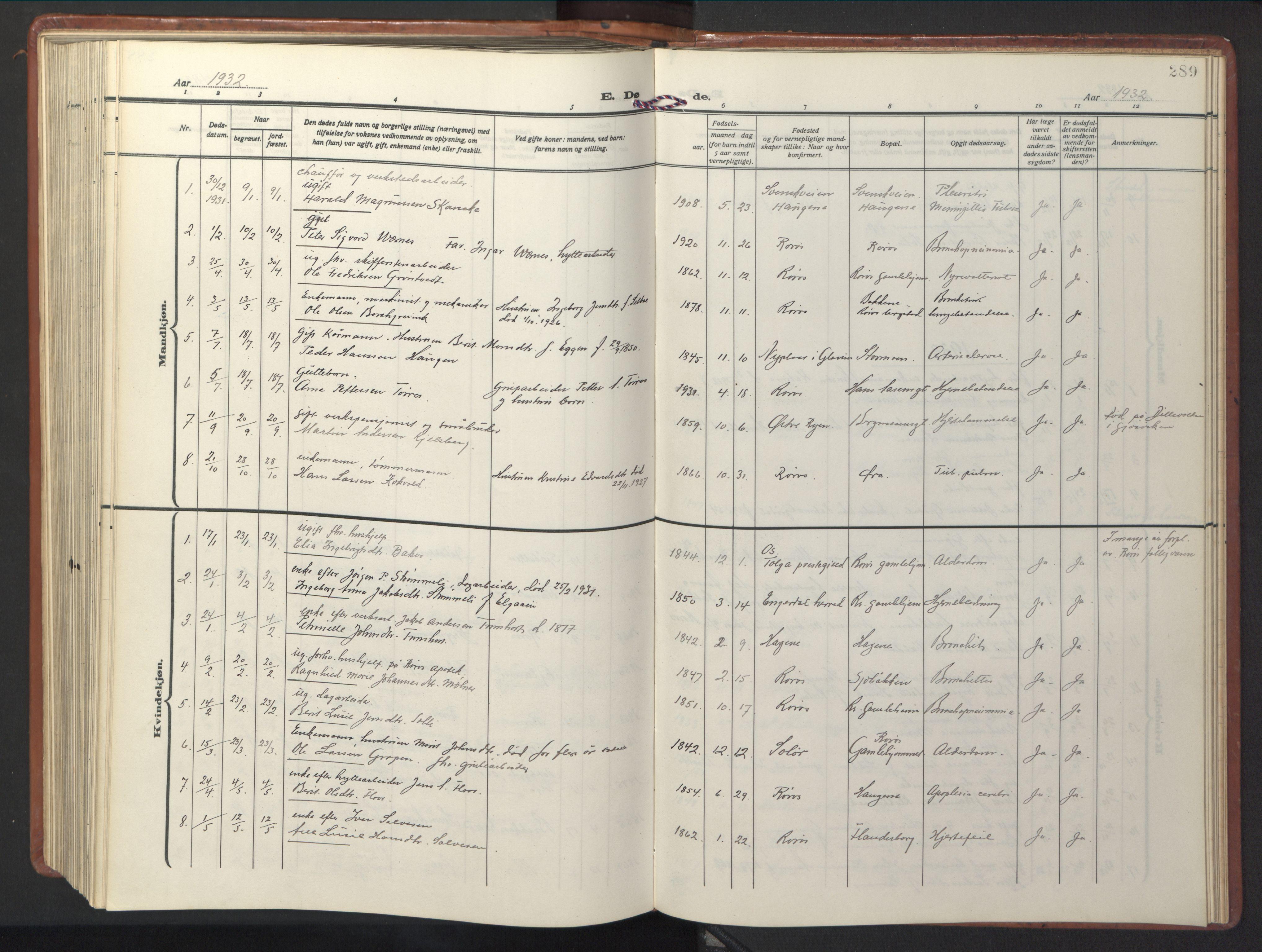 SAT, Ministerialprotokoller, klokkerbøker og fødselsregistre - Sør-Trøndelag, 681/L0943: Klokkerbok nr. 681C07, 1926-1954, s. 289