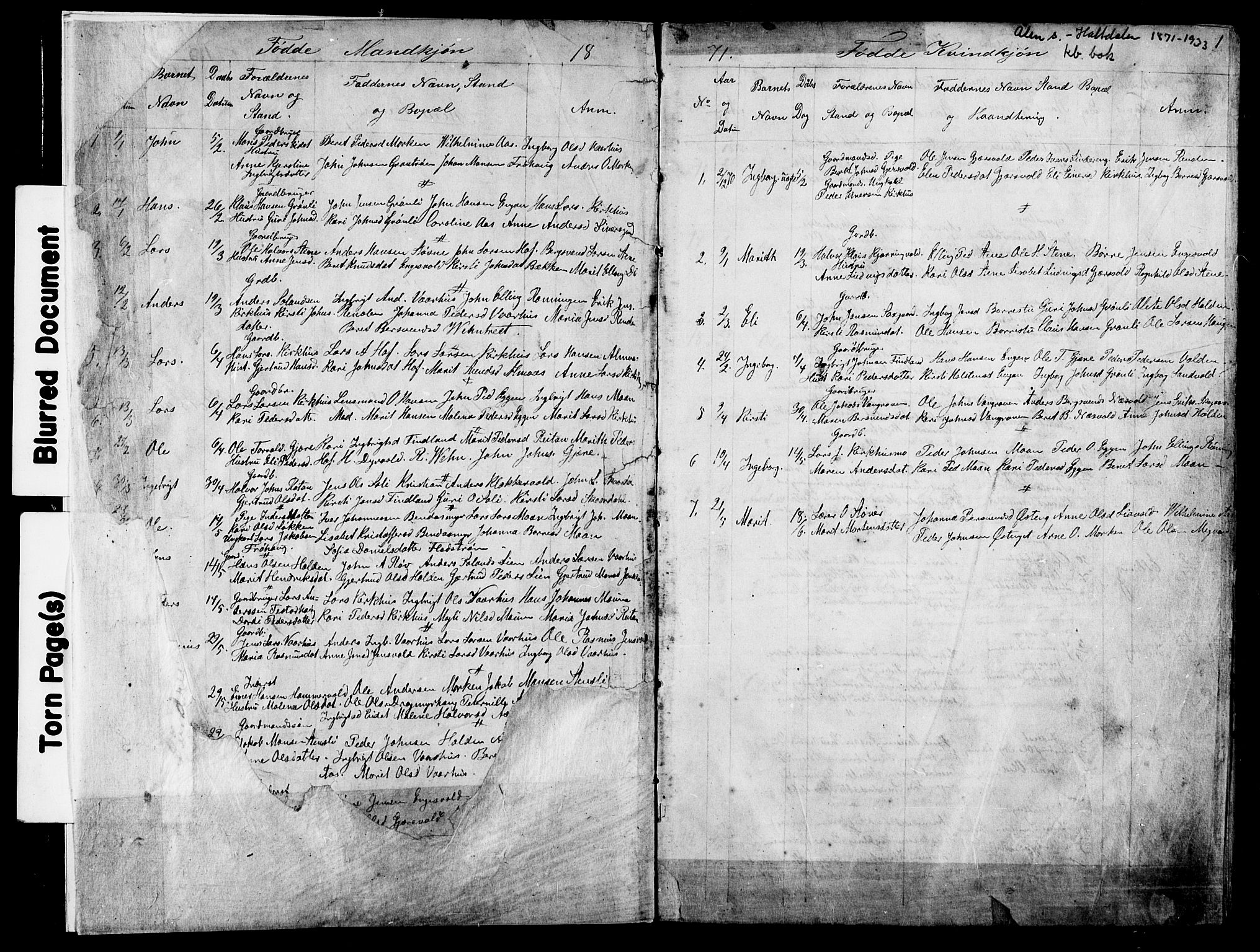 SAT, Ministerialprotokoller, klokkerbøker og fødselsregistre - Sør-Trøndelag, 686/L0985: Klokkerbok nr. 686C01, 1871-1933, s. 1