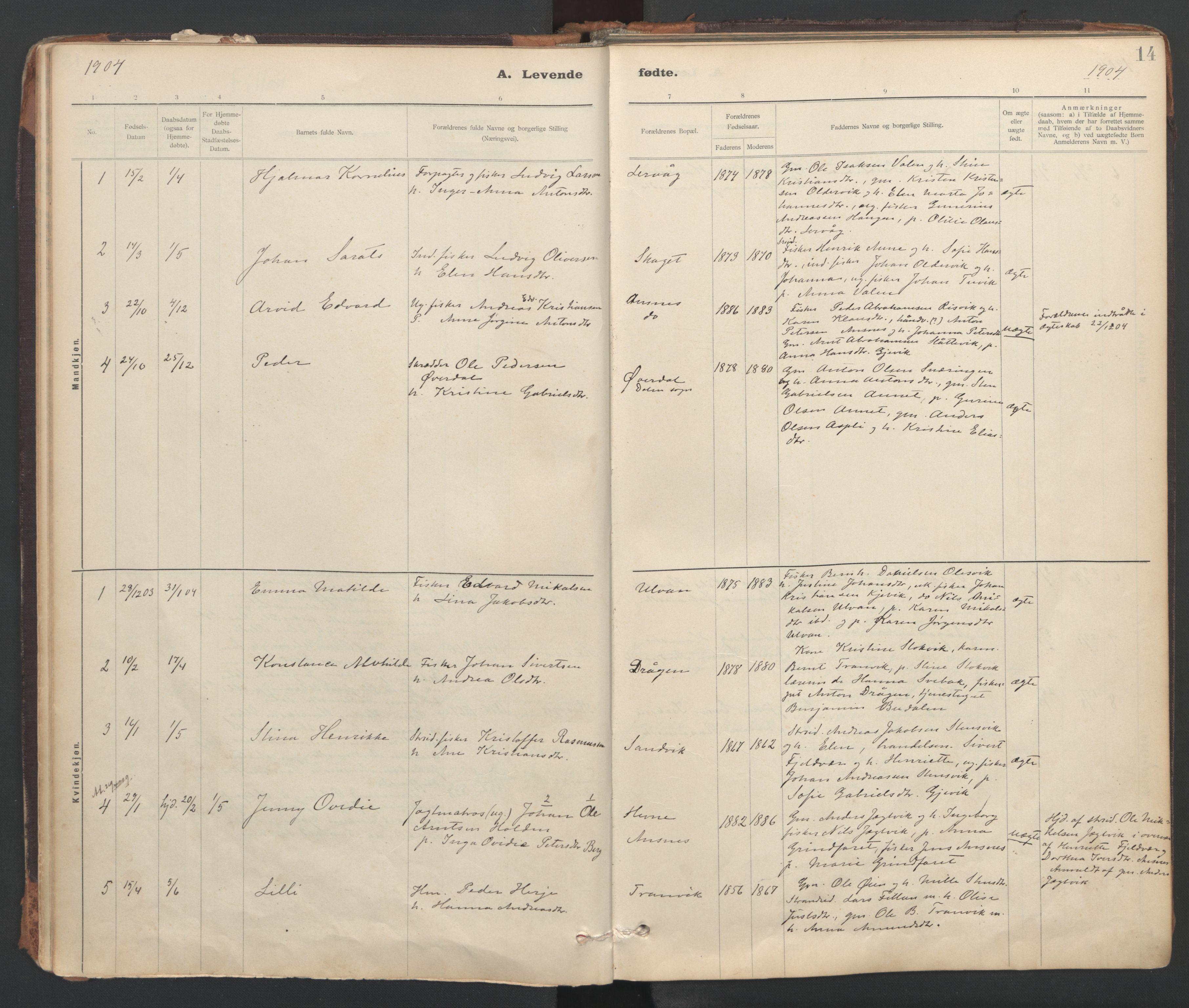 SAT, Ministerialprotokoller, klokkerbøker og fødselsregistre - Sør-Trøndelag, 637/L0559: Ministerialbok nr. 637A02, 1899-1923, s. 14