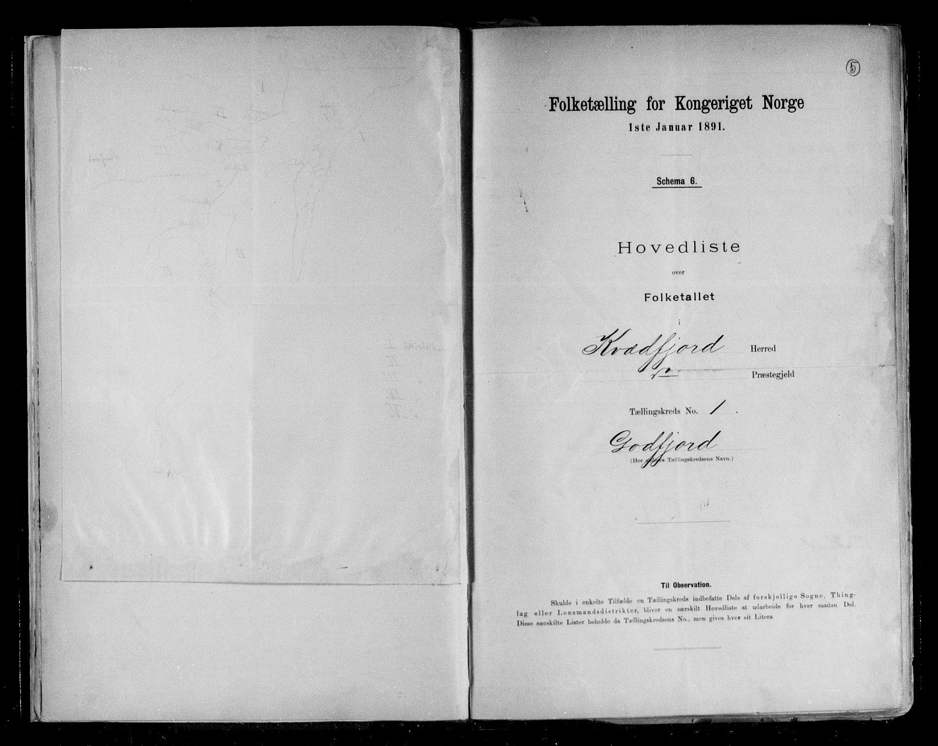 RA, Folketelling 1891 for 1911 Kvæfjord herred, 1891, s. 5