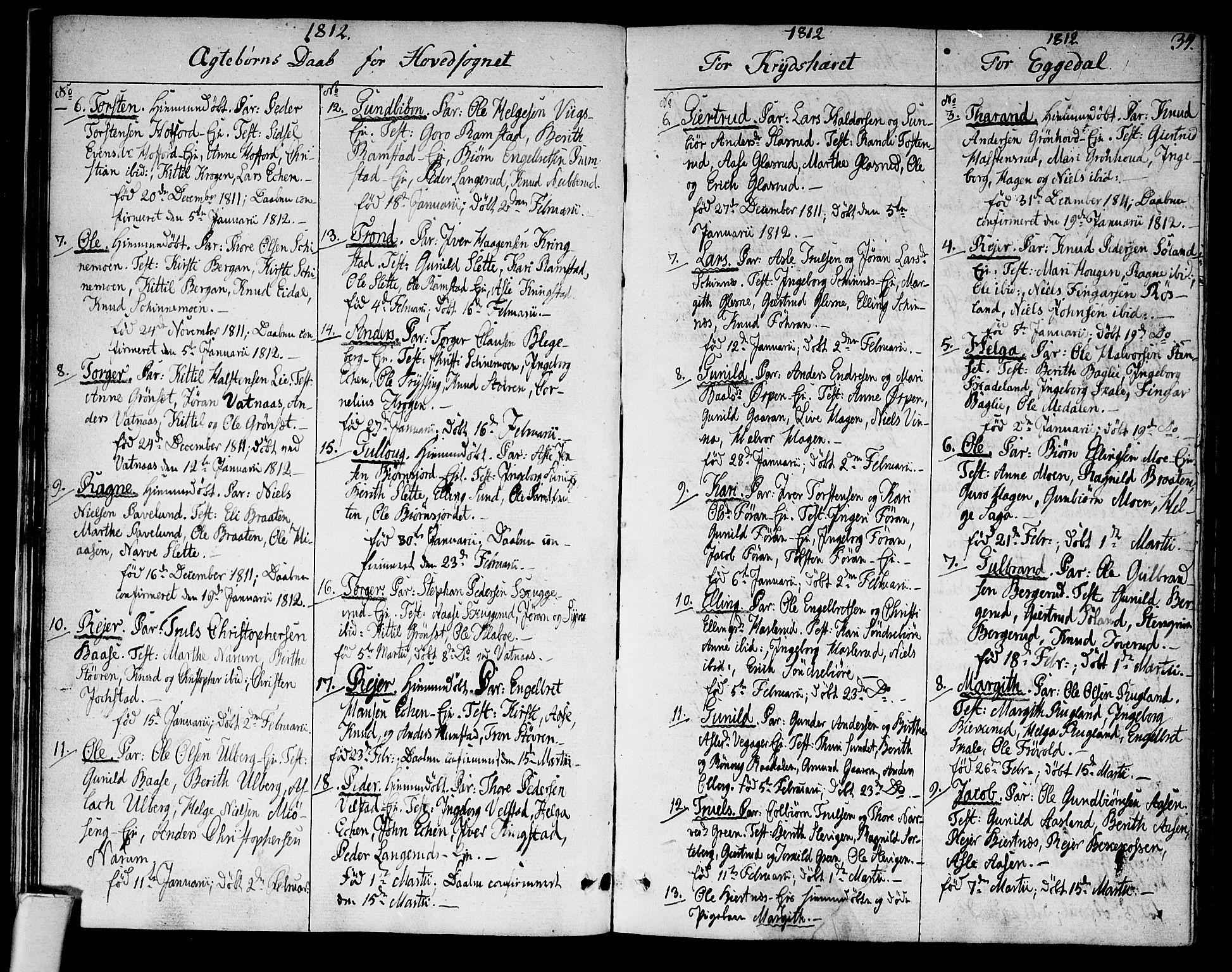 SAKO, Sigdal kirkebøker, F/Fa/L0004: Ministerialbok nr. I 4, 1812-1815, s. 34