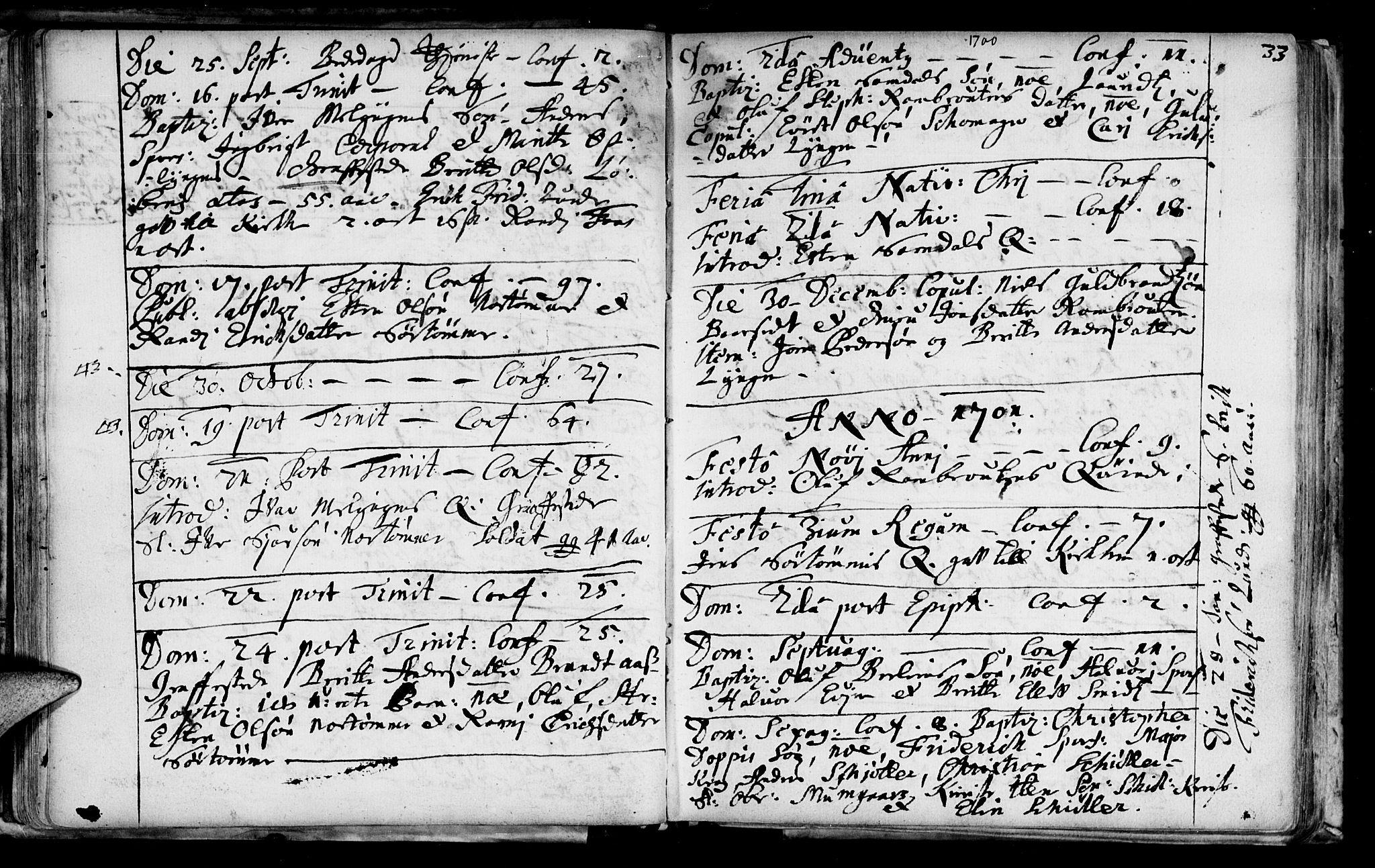 SAT, Ministerialprotokoller, klokkerbøker og fødselsregistre - Sør-Trøndelag, 692/L1101: Ministerialbok nr. 692A01, 1690-1746, s. 33