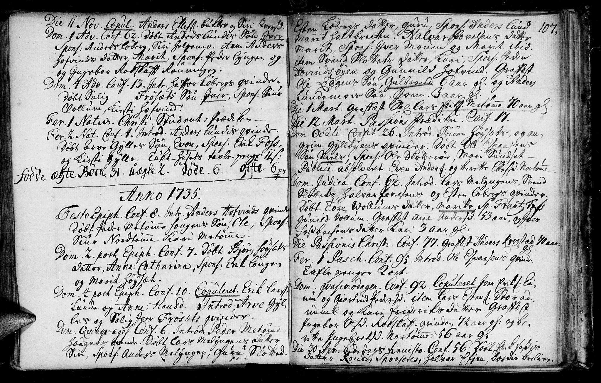SAT, Ministerialprotokoller, klokkerbøker og fødselsregistre - Sør-Trøndelag, 692/L1101: Ministerialbok nr. 692A01, 1690-1746, s. 107