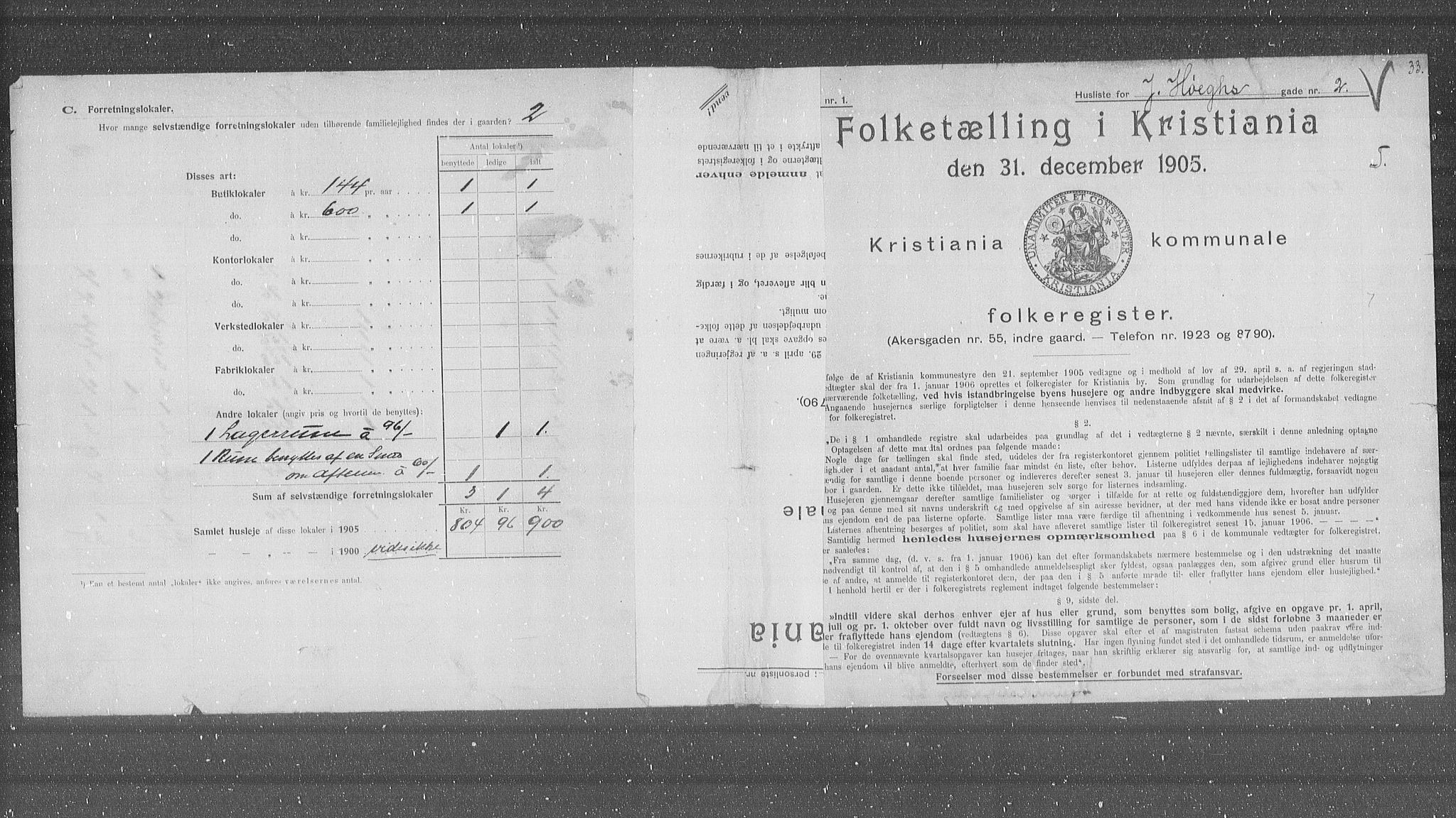 OBA, Kommunal folketelling 1905 for Kristiania kjøpstad, 1905, s. 24991