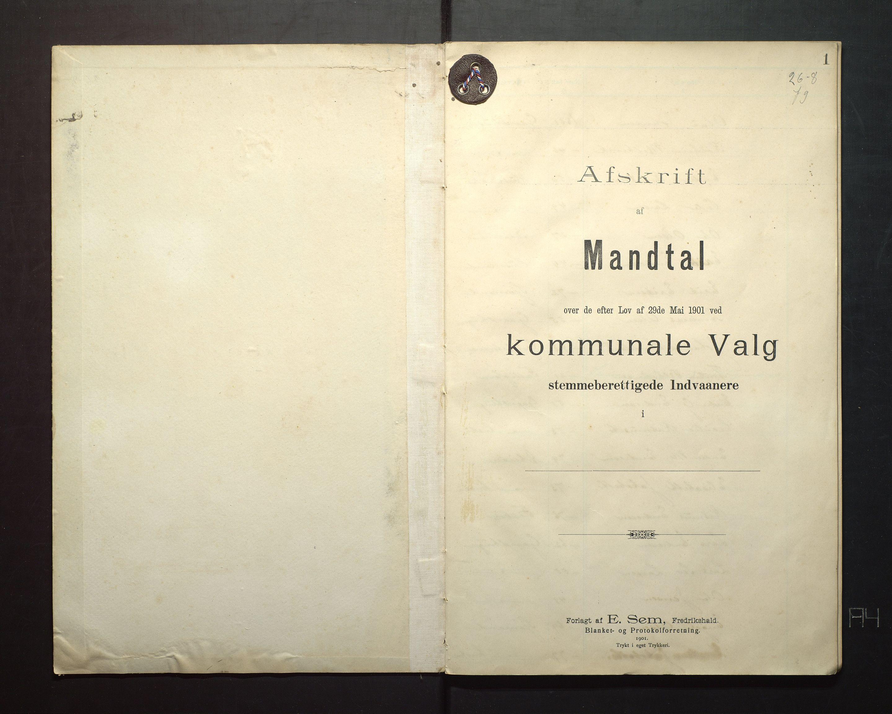 IKAH, Finnaas kommune. Valstyret, F/Fa/L0005: Manntal over røysteføre i Moster sokn, 1904, s. 1