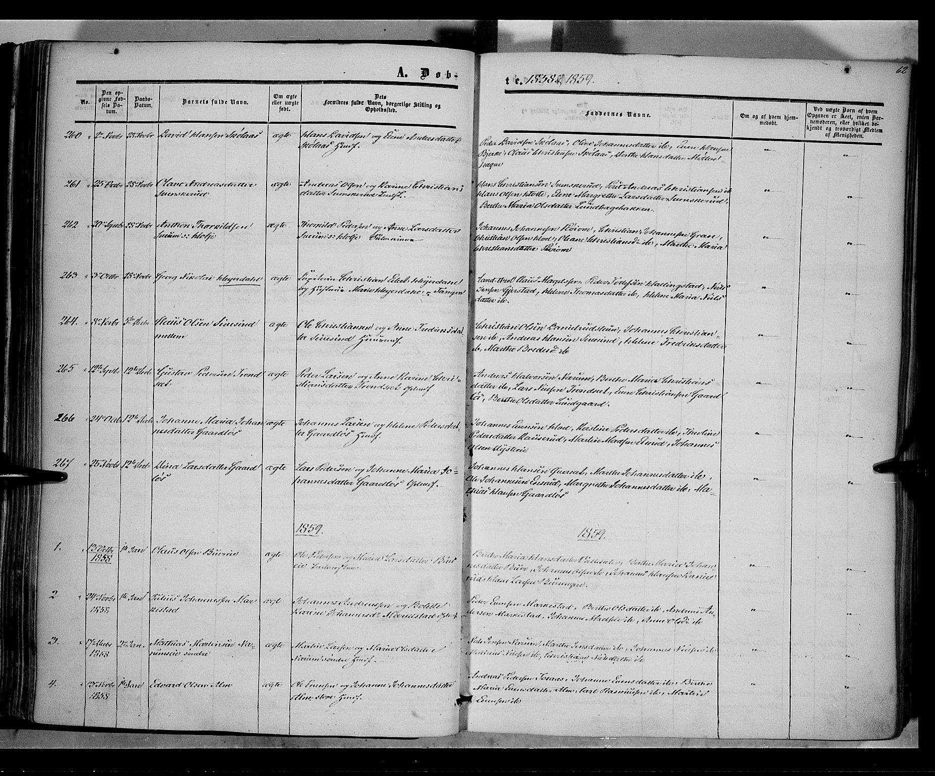 SAH, Vestre Toten prestekontor, Ministerialbok nr. 6, 1856-1861, s. 62