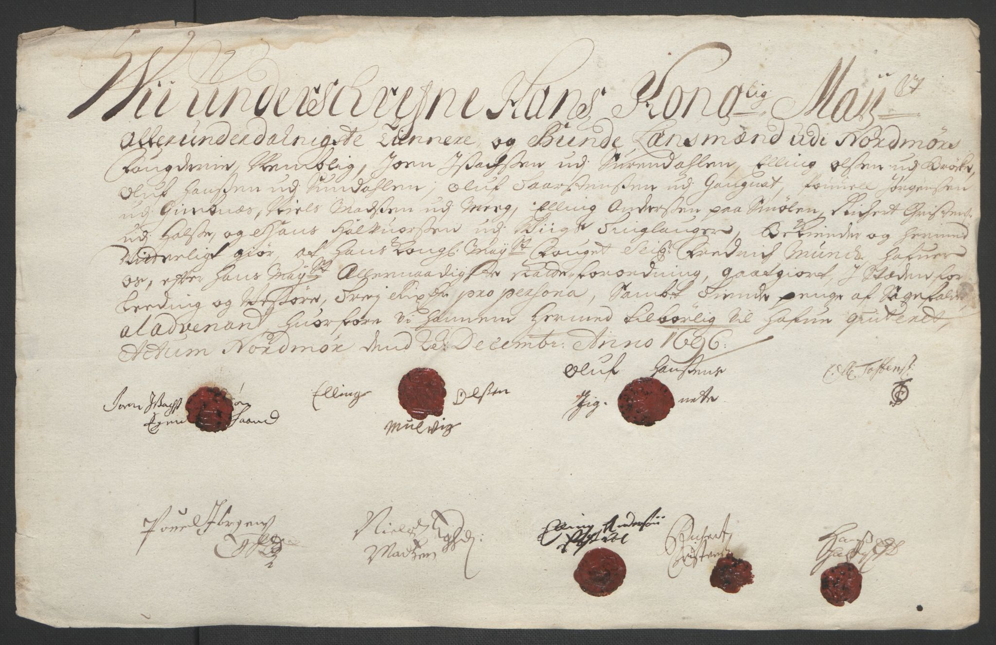 RA, Rentekammeret inntil 1814, Reviderte regnskaper, Fogderegnskap, R56/L3736: Fogderegnskap Nordmøre, 1694-1696, s. 452
