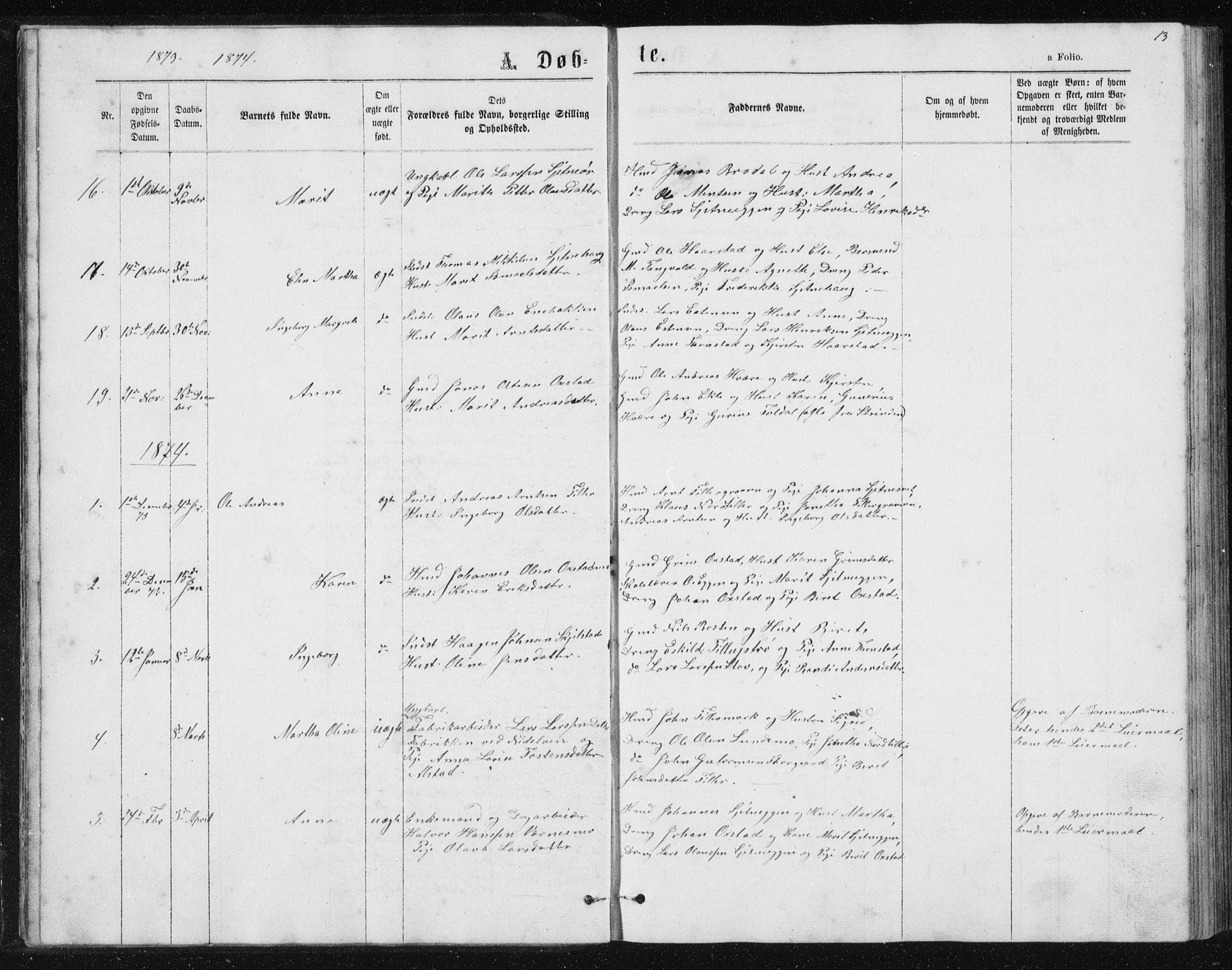 SAT, Ministerialprotokoller, klokkerbøker og fødselsregistre - Sør-Trøndelag, 621/L0459: Klokkerbok nr. 621C02, 1866-1895, s. 13