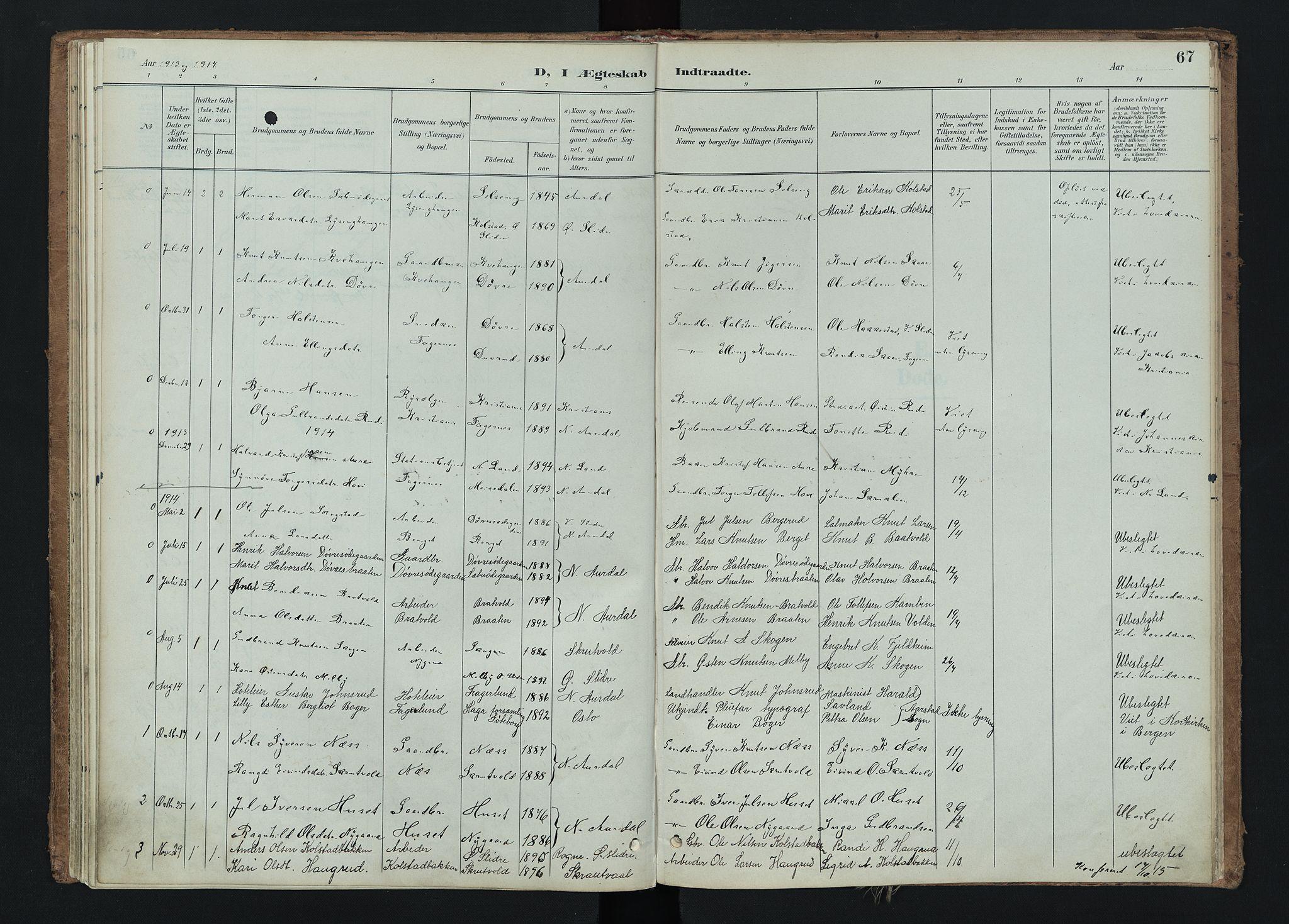 SAH, Nord-Aurdal prestekontor, Ministerialbok nr. 15, 1896-1914, s. 67