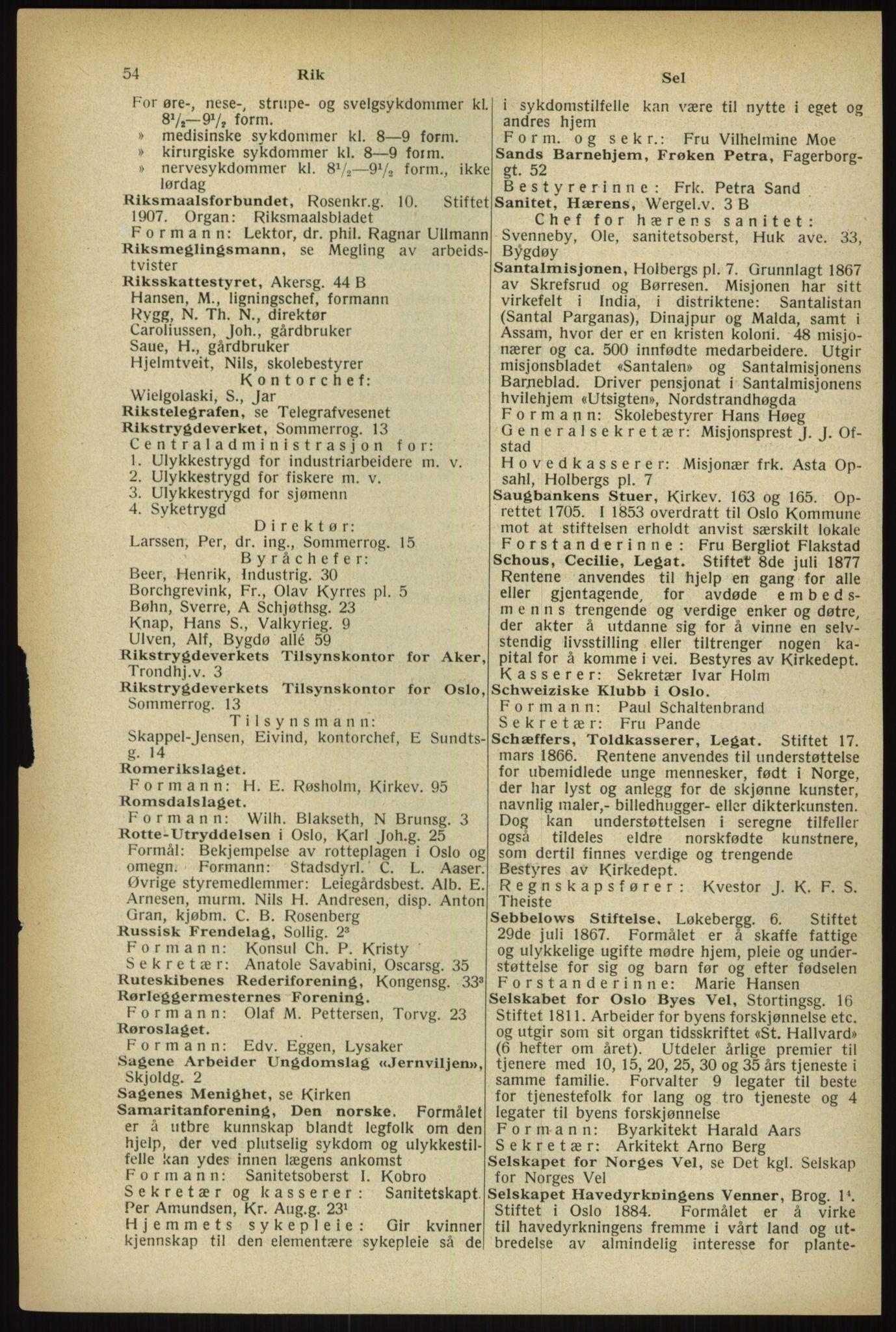 RA, Oslo adressebok (publikasjon)*, 1933, s. 54