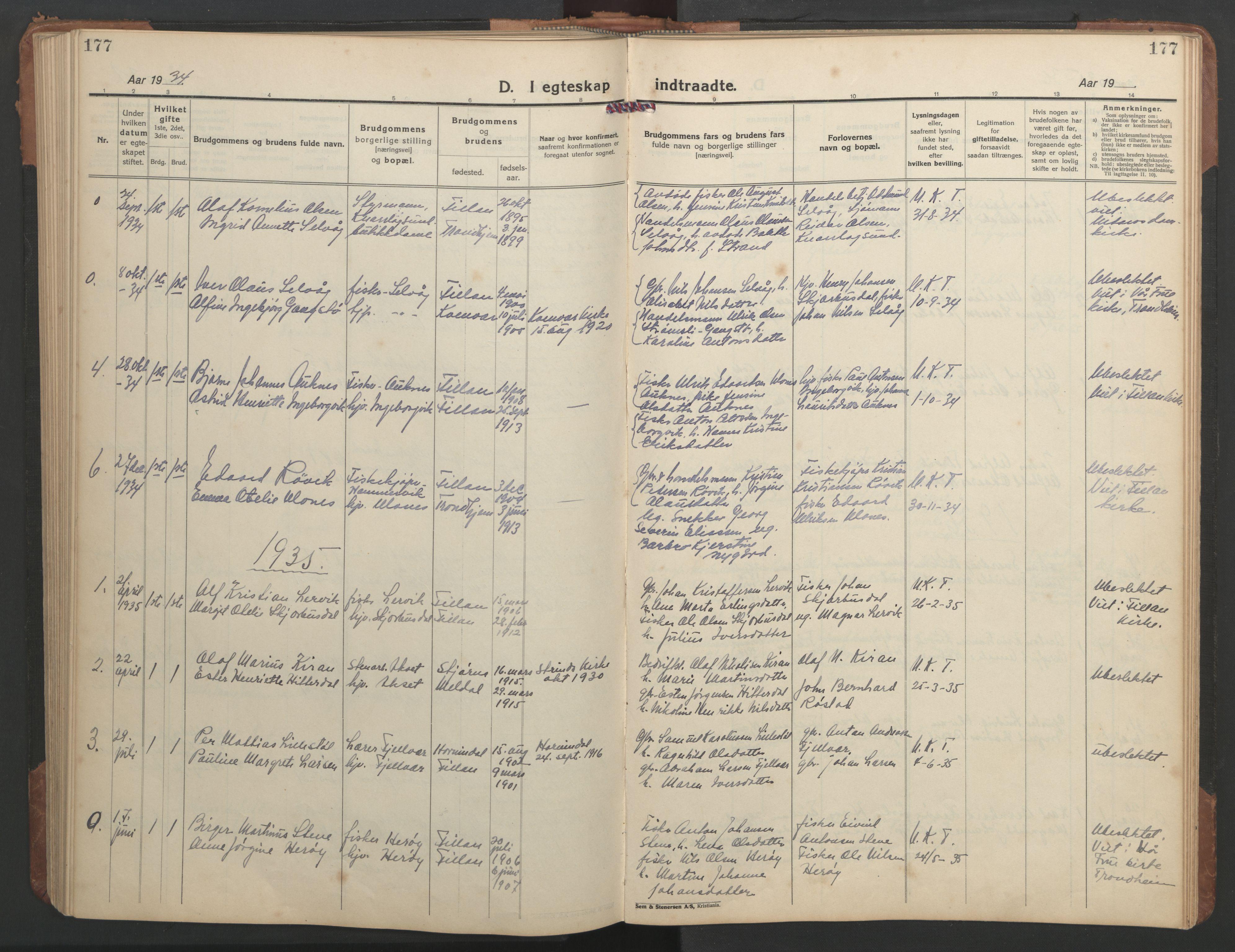 SAT, Ministerialprotokoller, klokkerbøker og fødselsregistre - Sør-Trøndelag, 638/L0569: Klokkerbok nr. 638C01, 1923-1961, s. 177